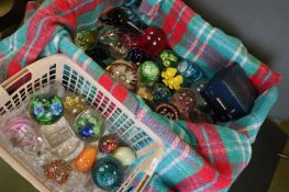 A large collection of glass paperweights to include Caithness and Milliefiori examples.