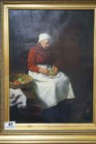 A 19th century oil on canvas of a seated old woman in an interior setting with basket of fruit,