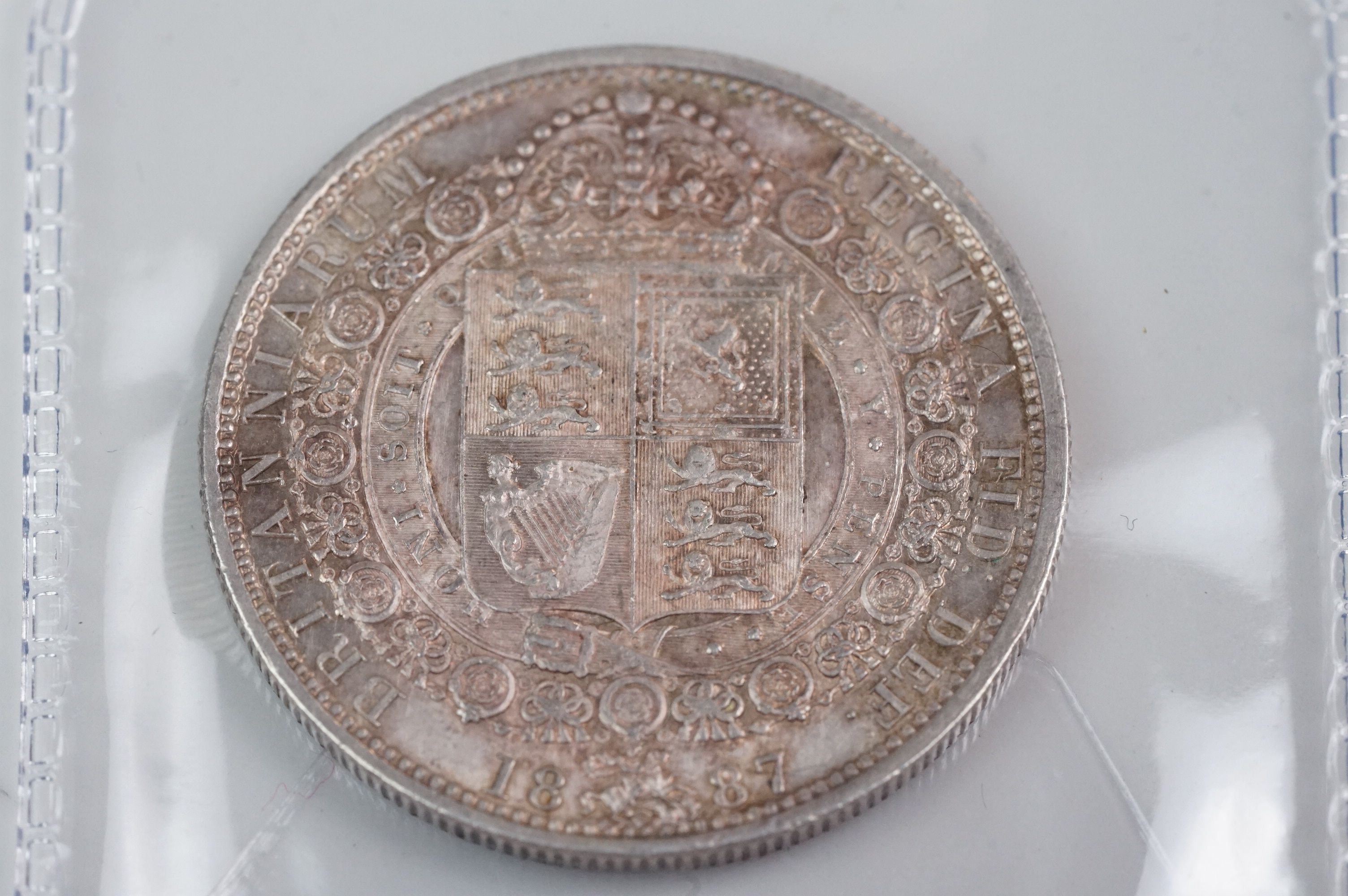 A collection of five Victorian silver coins to include two double florins, two florins and a - Image 2 of 11