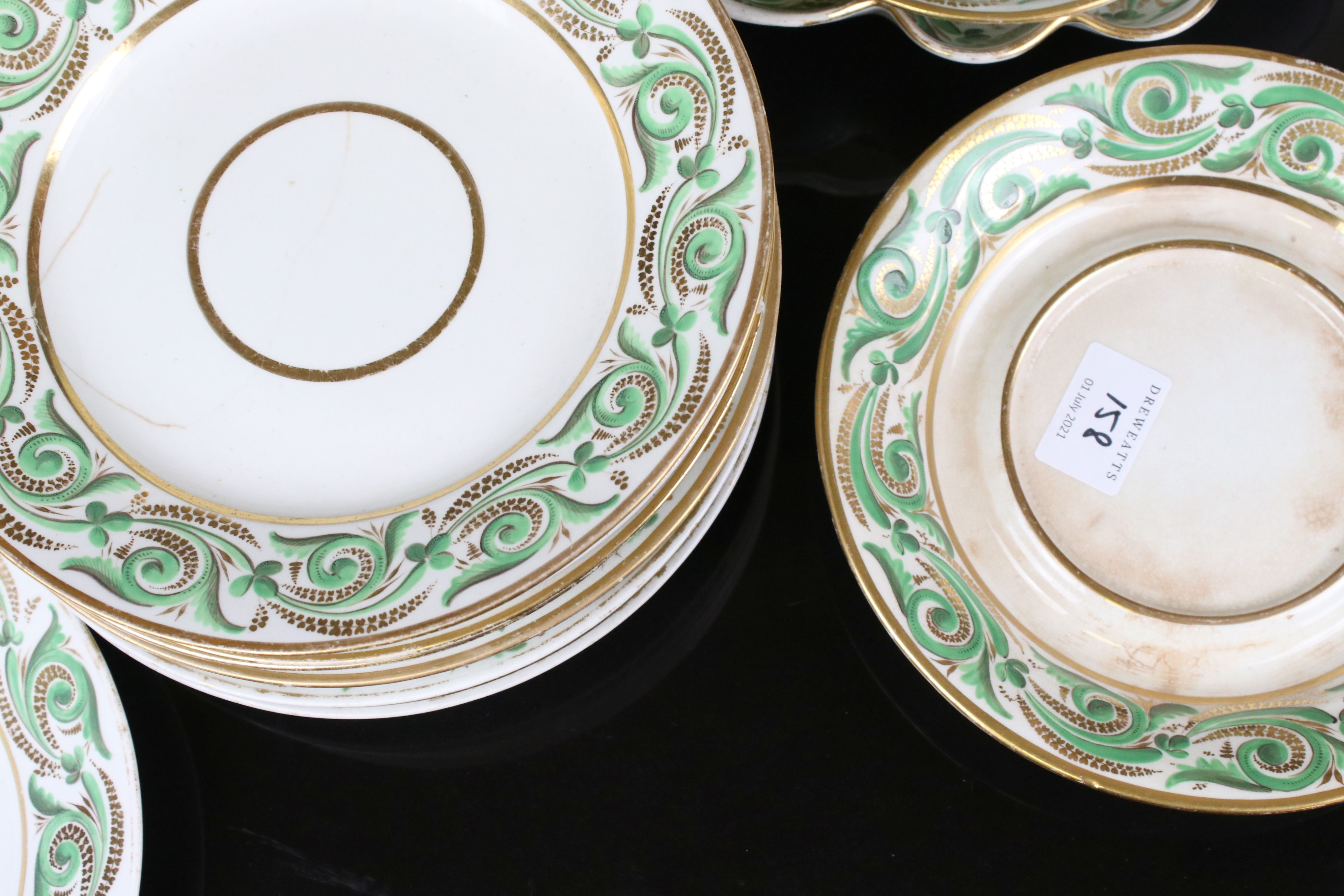 Early 19th century Derby porcelain service, white ground with apple green and gilt scrolling - Image 3 of 8
