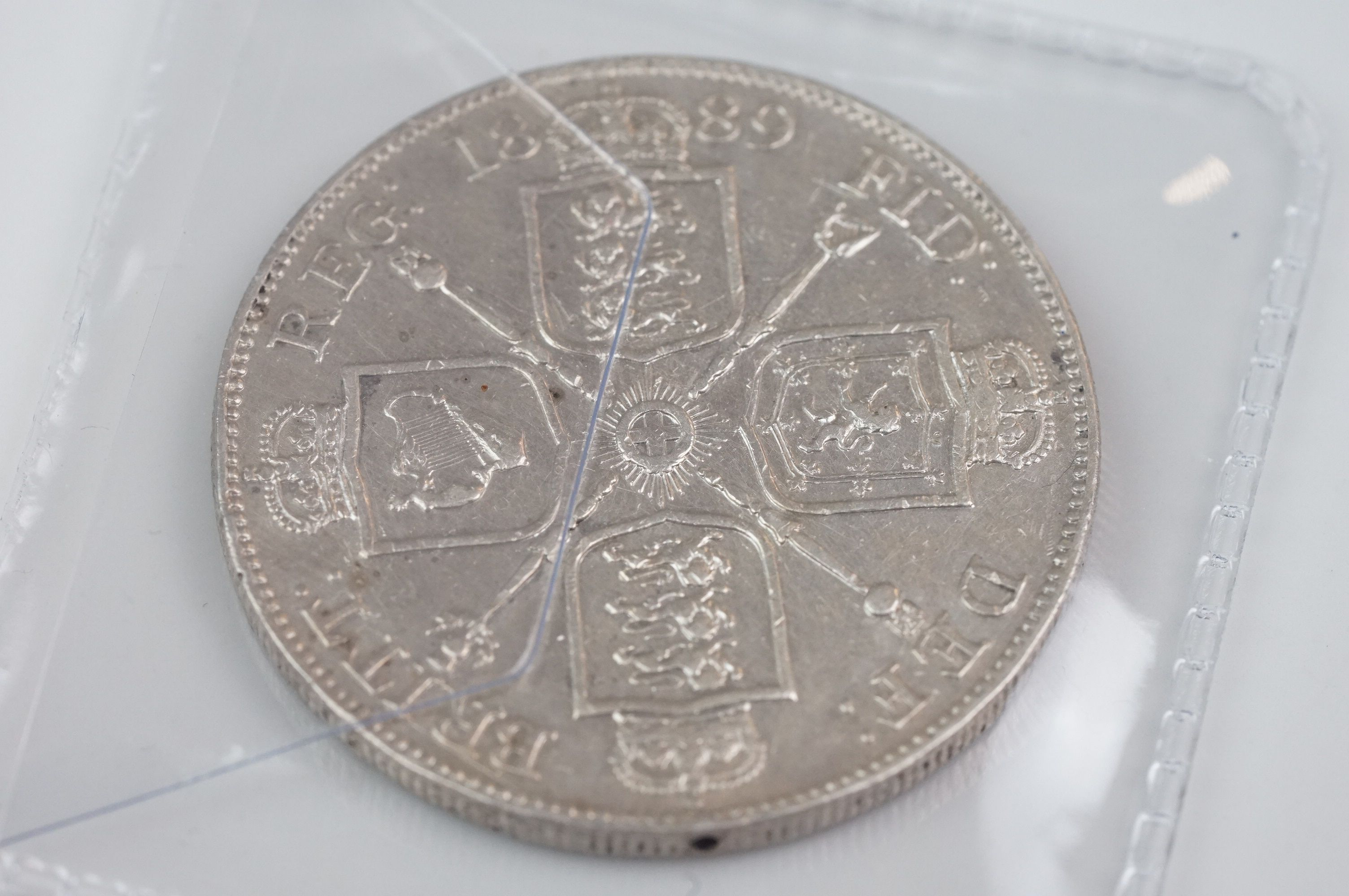 A collection of five Victorian silver coins to include two double florins, two florins and a - Image 8 of 11