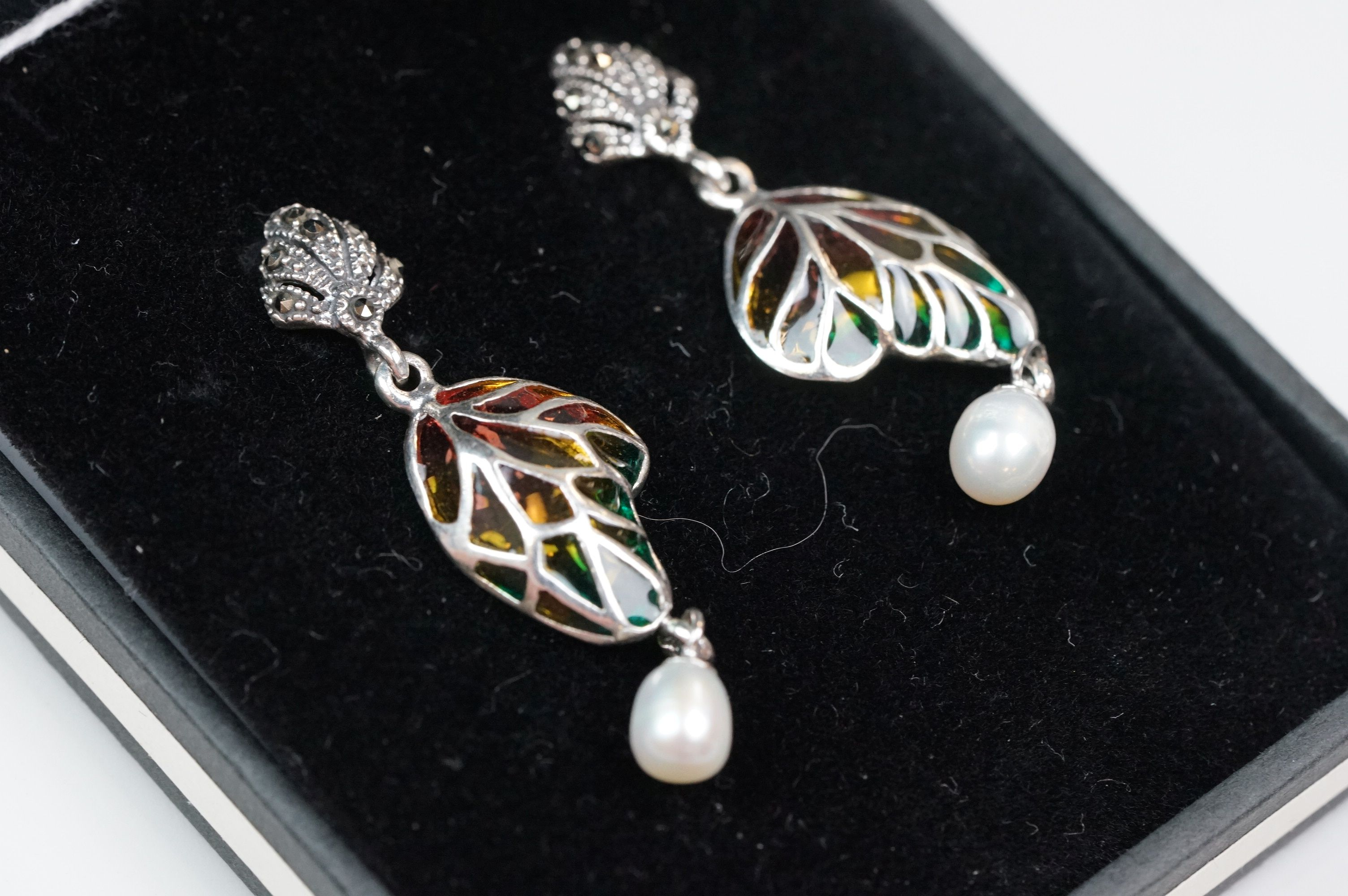 Pair of silver plique-a-jour drop earrings