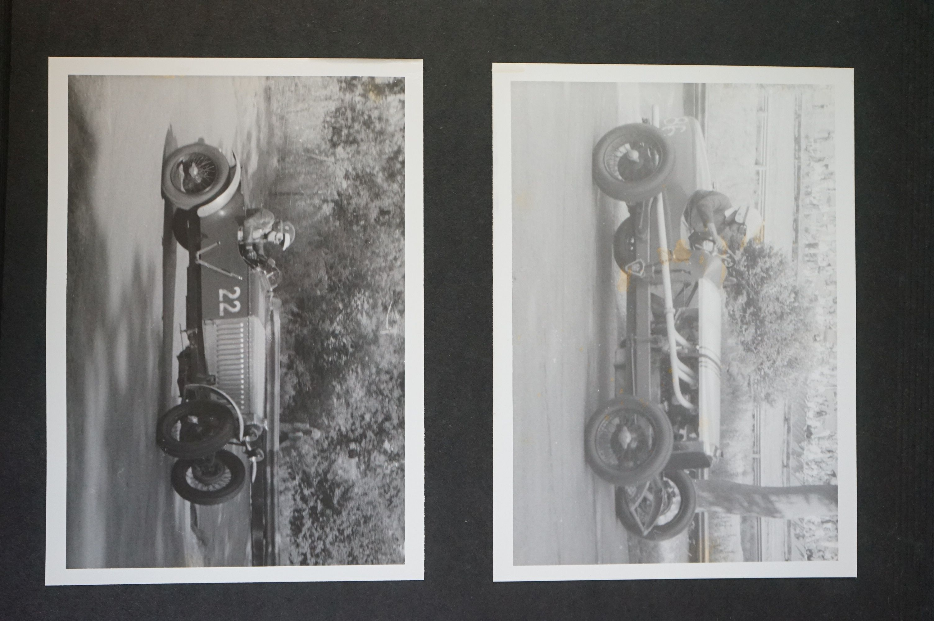 A vintage photograph album with vintage black and white photos of motor racing cars. - Image 2 of 5