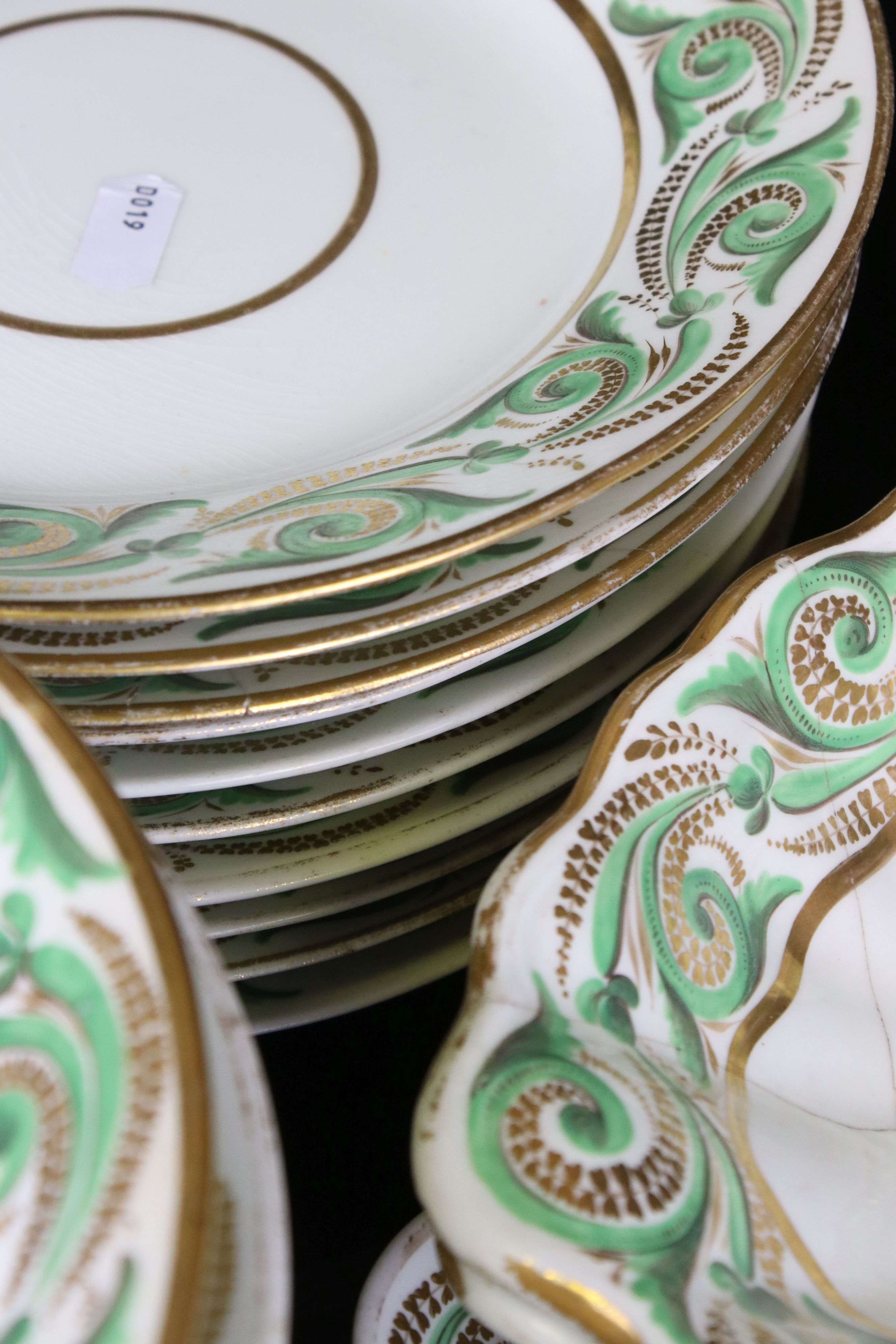 Early 19th century Derby porcelain service, white ground with apple green and gilt scrolling - Image 8 of 8