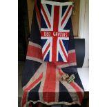Deo Gratias Union Jack Flag, 97cms long together with another Union Jack Flag, 185cms long and Two