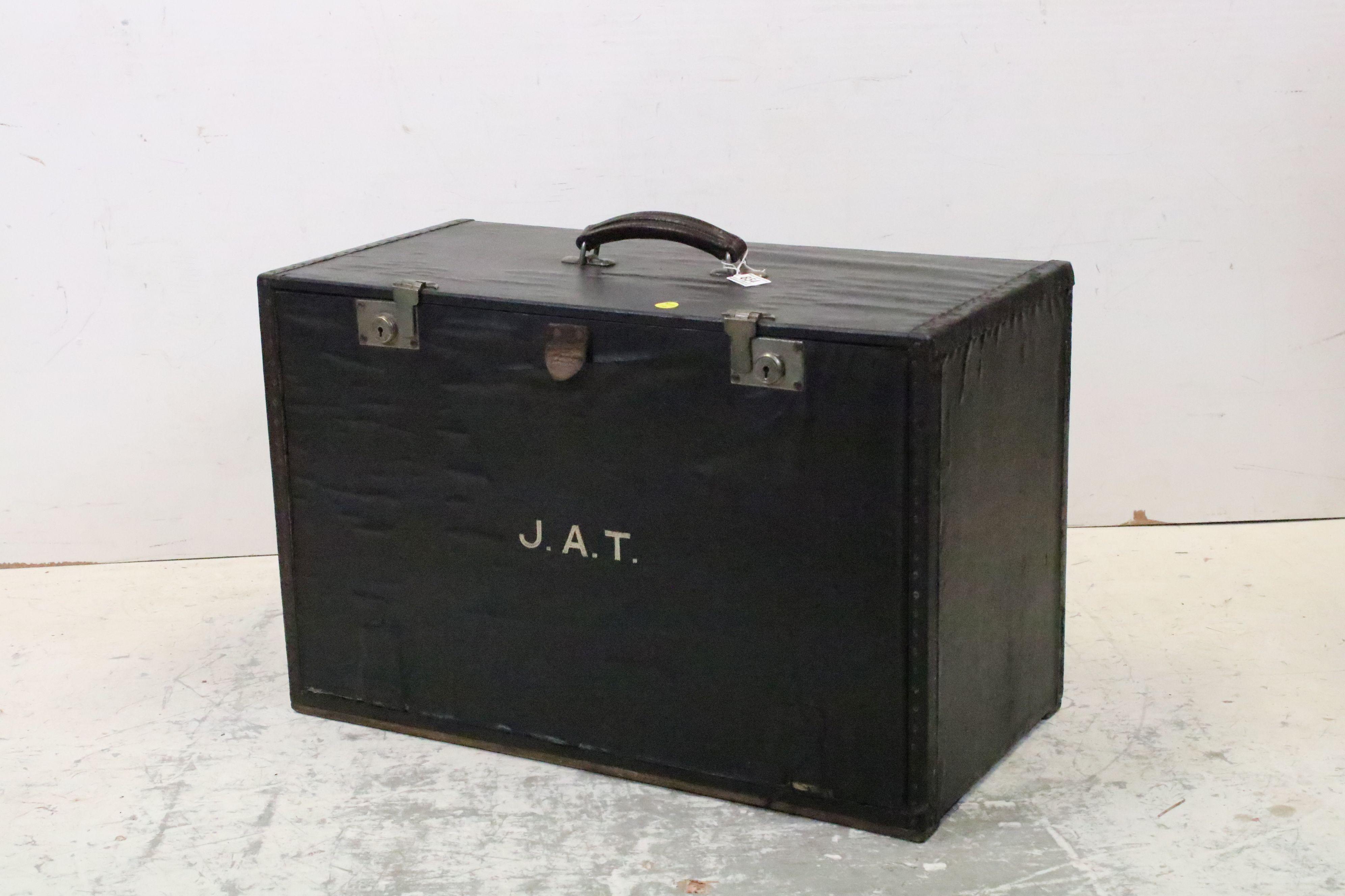 Vintage black leatherette travelling salesman's case