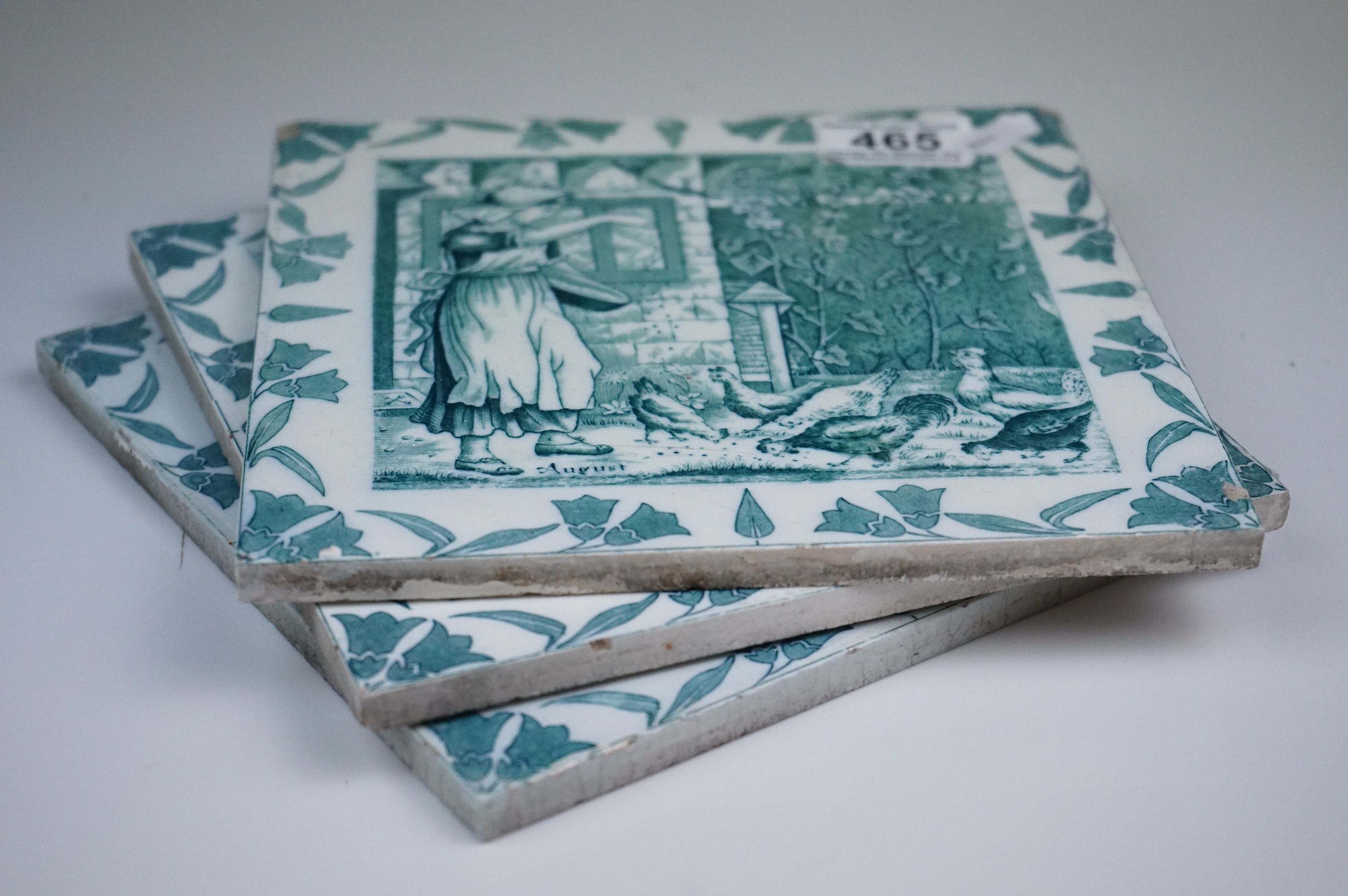 """Three Wedgwood Etruria 8"""" Old English tiles, May, August & January - Image 5 of 6"""