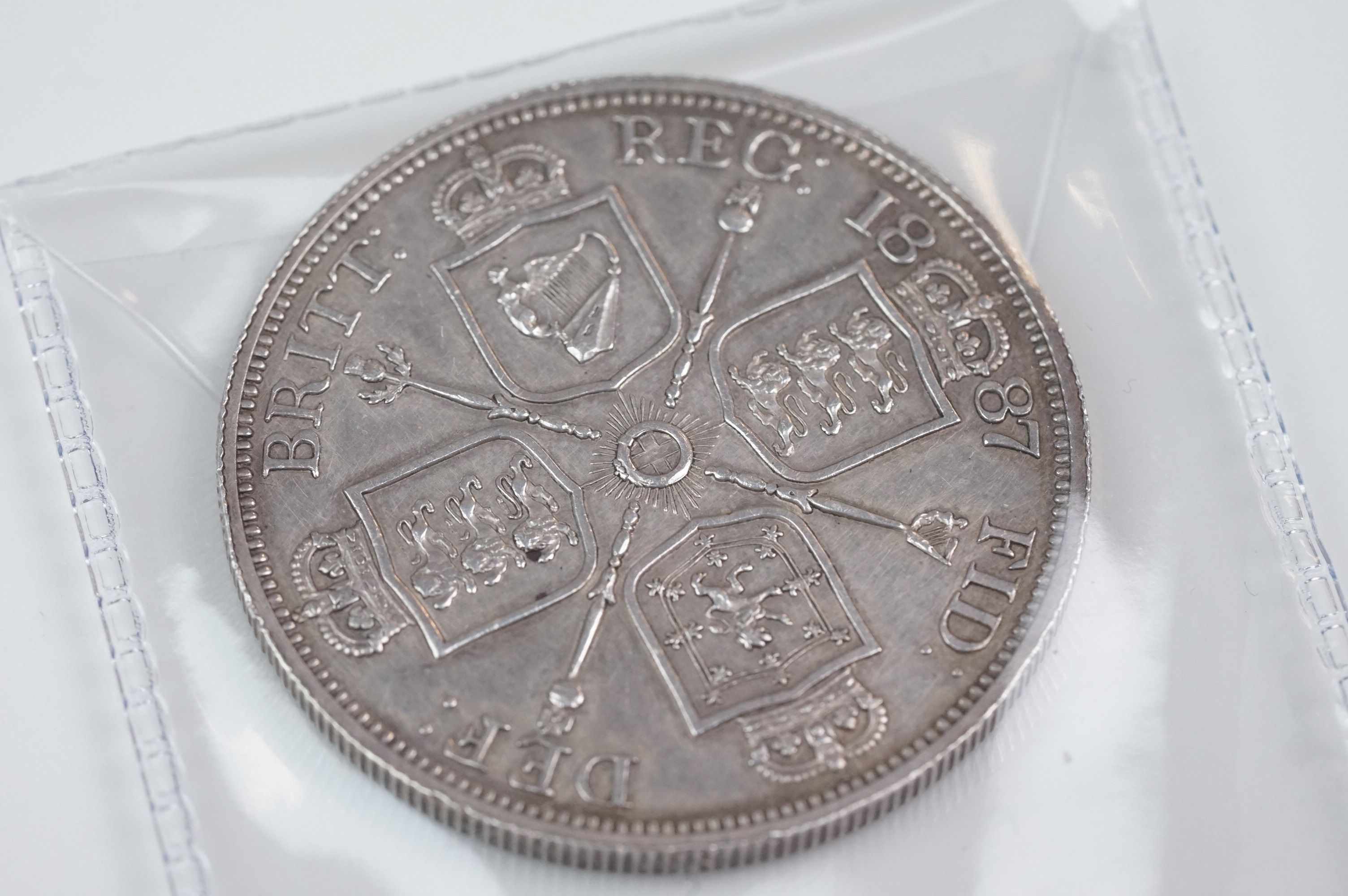 A collection of five Victorian silver coins to include two double florins, two florins and a - Image 6 of 11