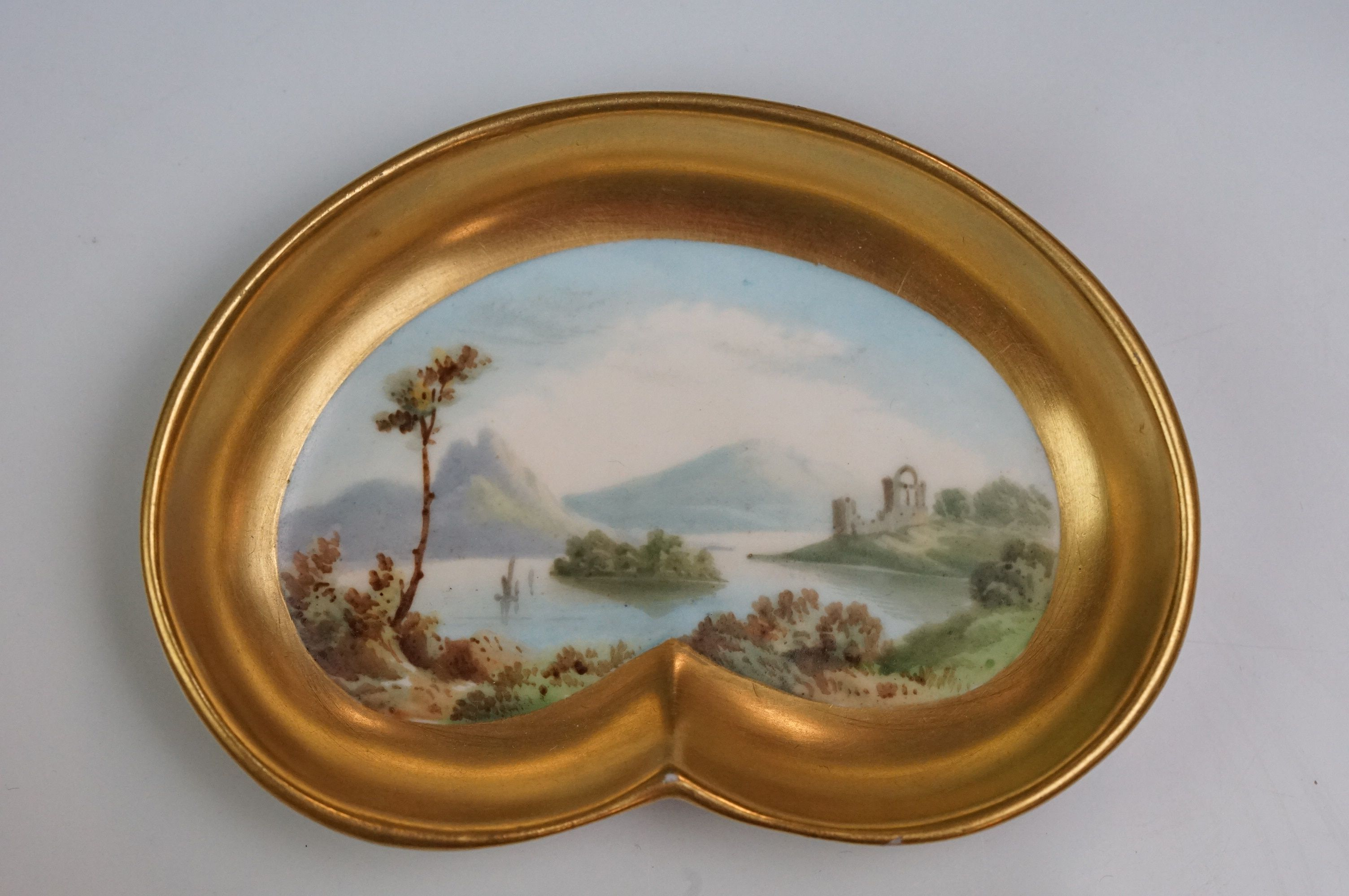 Pair of hand painted Dresden cups, each depicting a different scene: castle and lake scene with - Image 2 of 10