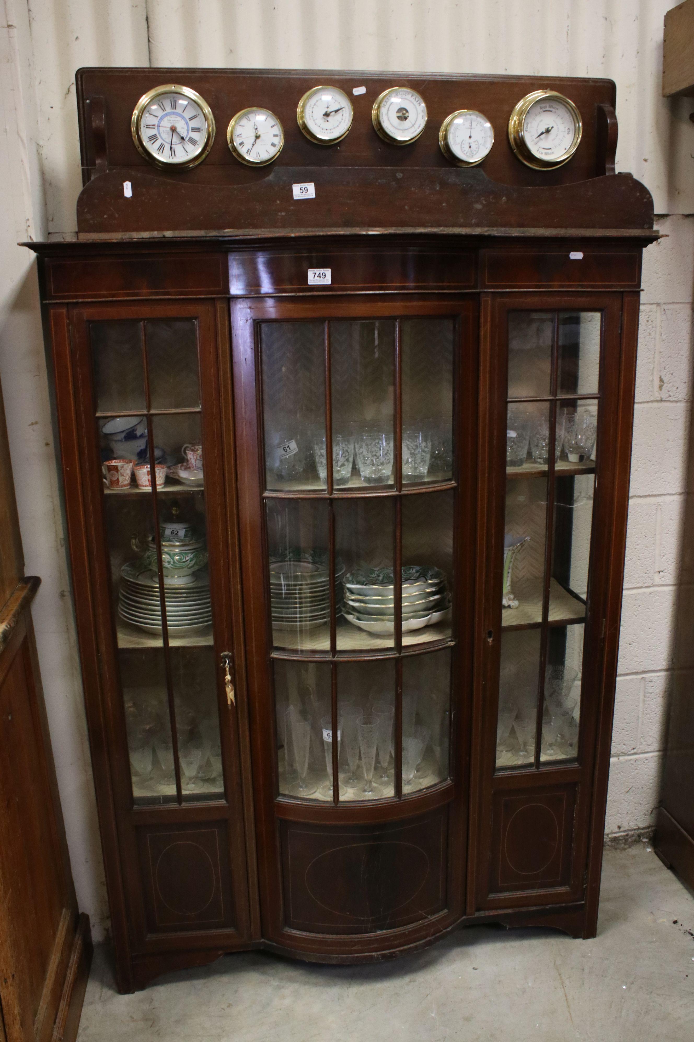 Edwardian Mahogany Inlaid Display Cabinet, 114cms wide x 153cms high