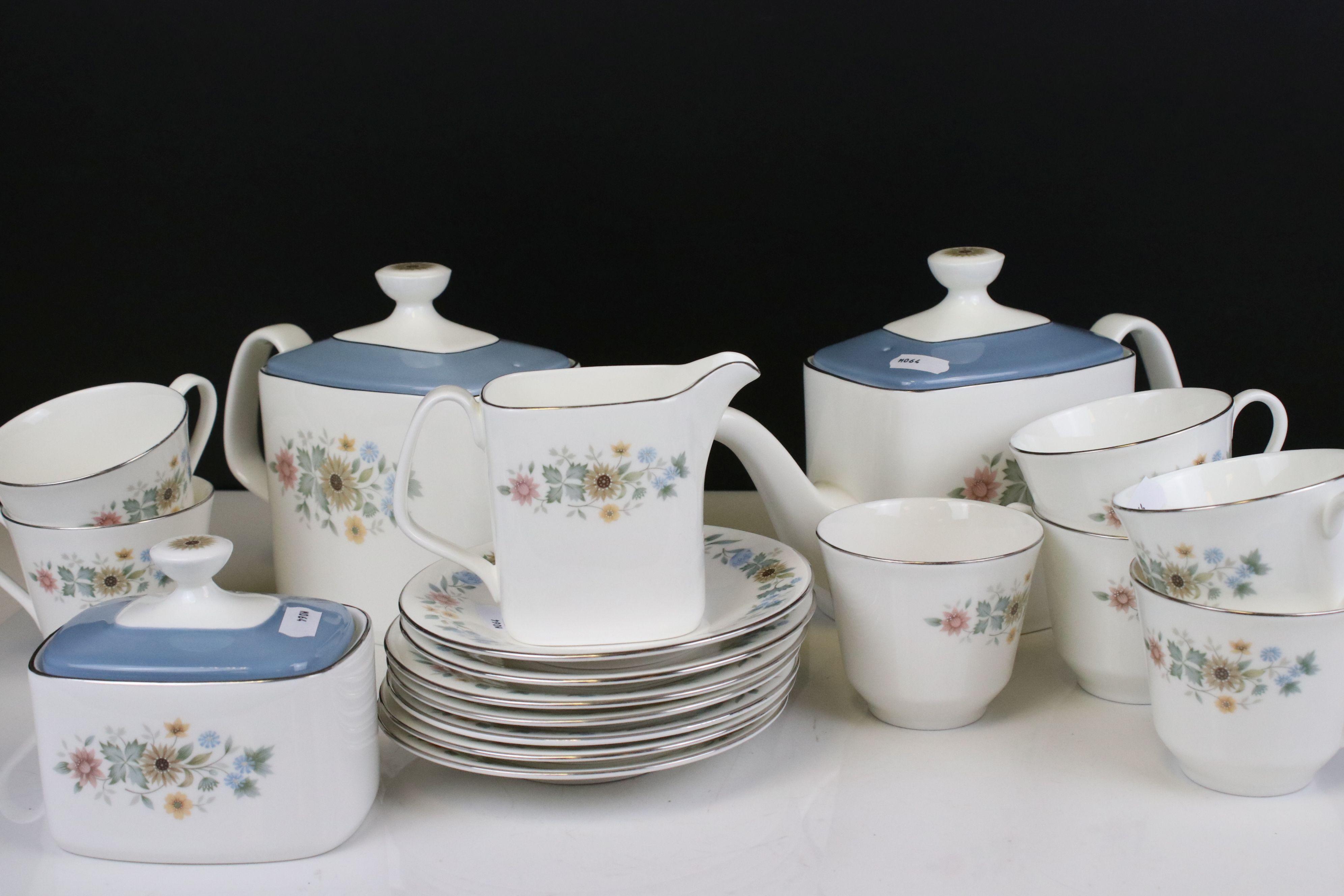 Royal Doulton ' Pastorale ' Tea Set comprising Two Teapots, Milk, Sugar, 6 Cups and 7 Saucers