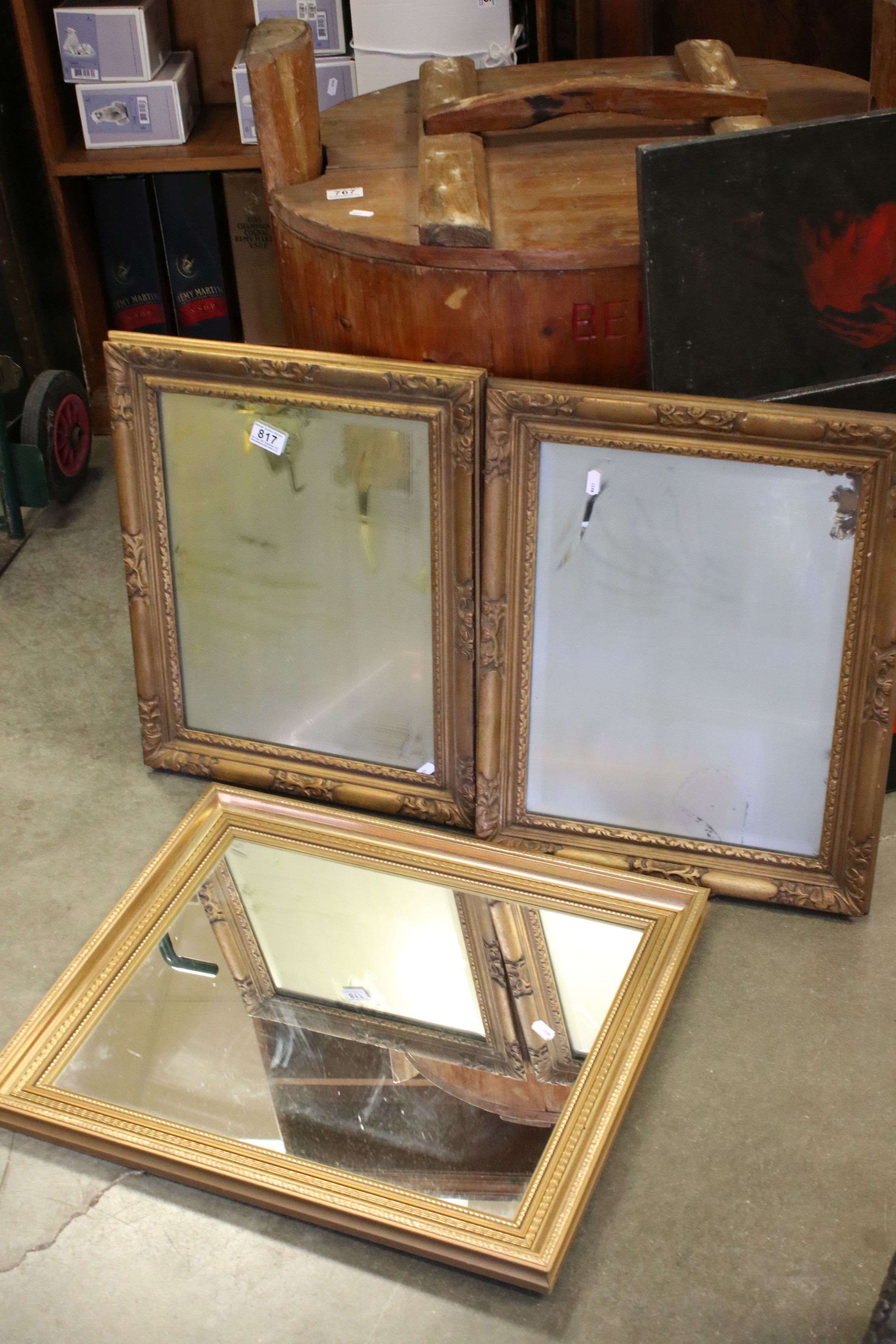 Pair of Rectangular Gilt Framed Mirrors, 44cms x 54cms together with another Gilt Framed Mirror
