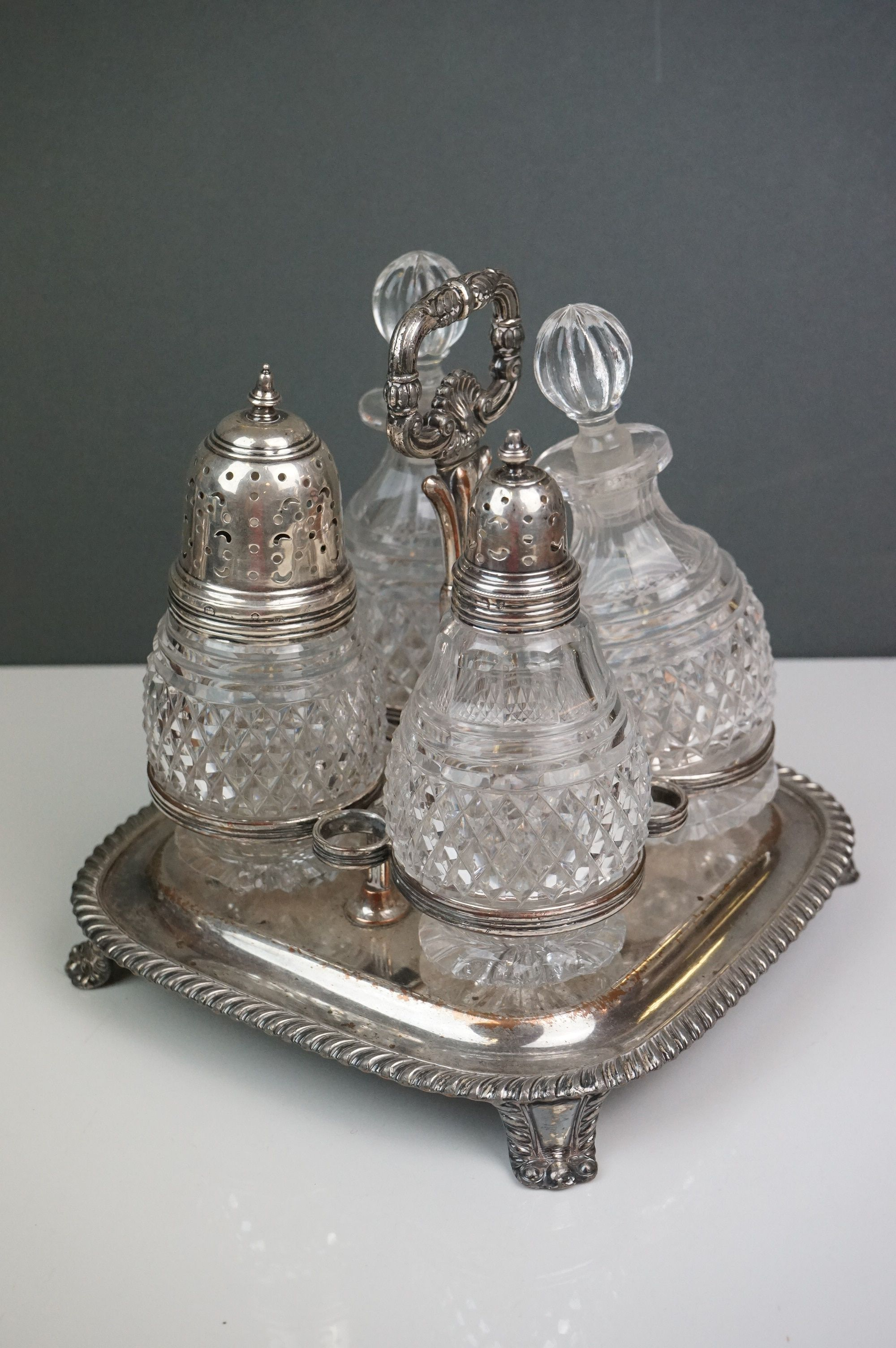 Silver plate - a Victorian four bottle cruet with cut glass bottles, WMF bowl with raised scroll - Image 3 of 6