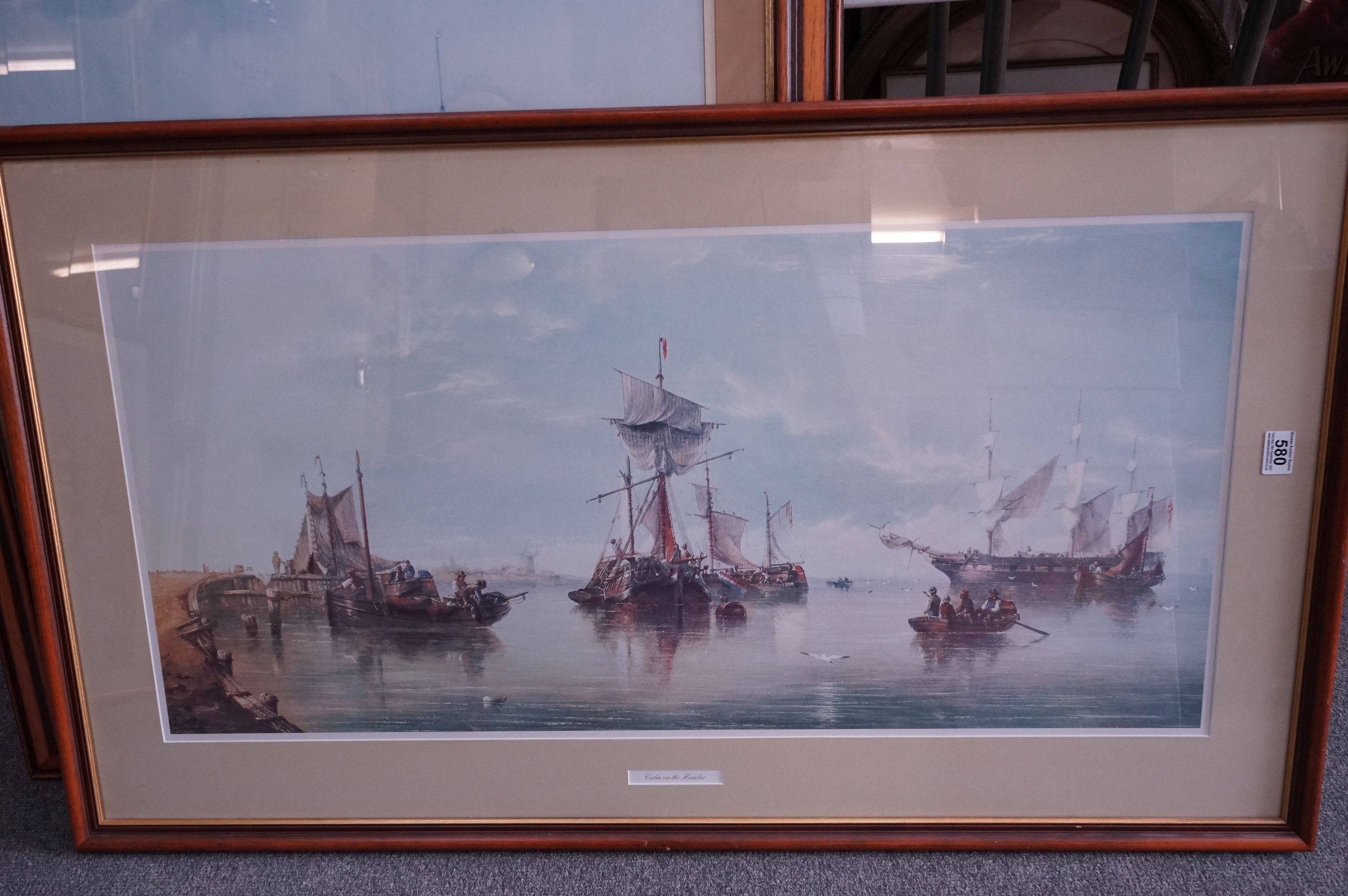 Four Large Framed and Glazed Sailing Ship Prints including Roger Desoutter ' Hove -to off the - Image 7 of 11