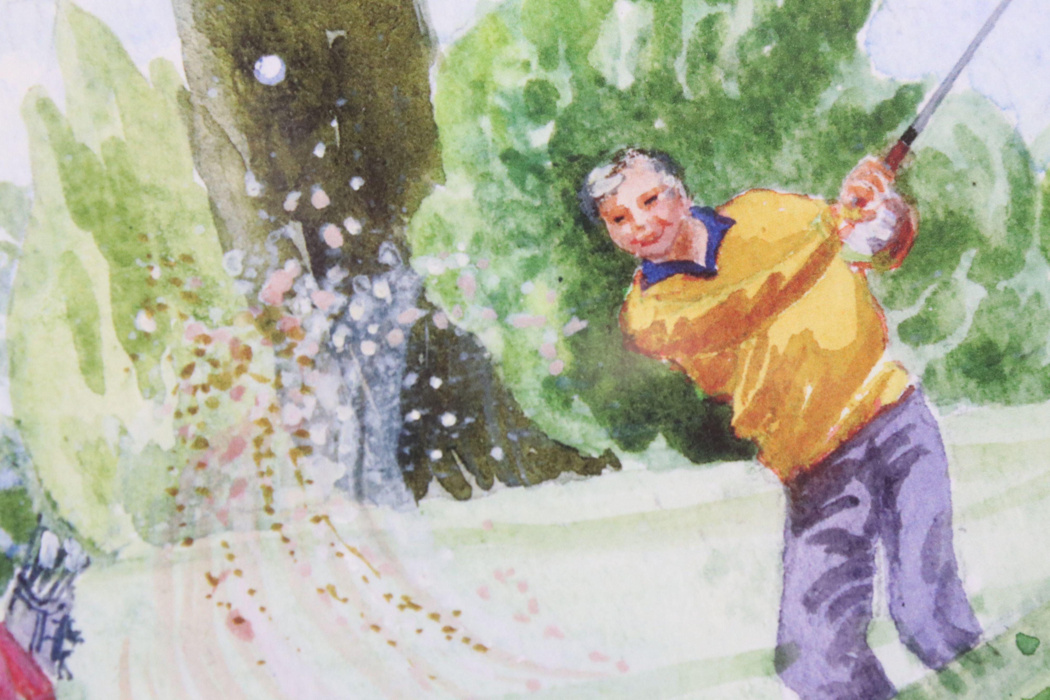 Tim Bulmer (cartoonist) a pair of humorous tennis watercolour cartoons & a signed Angela Fielder - Image 5 of 7