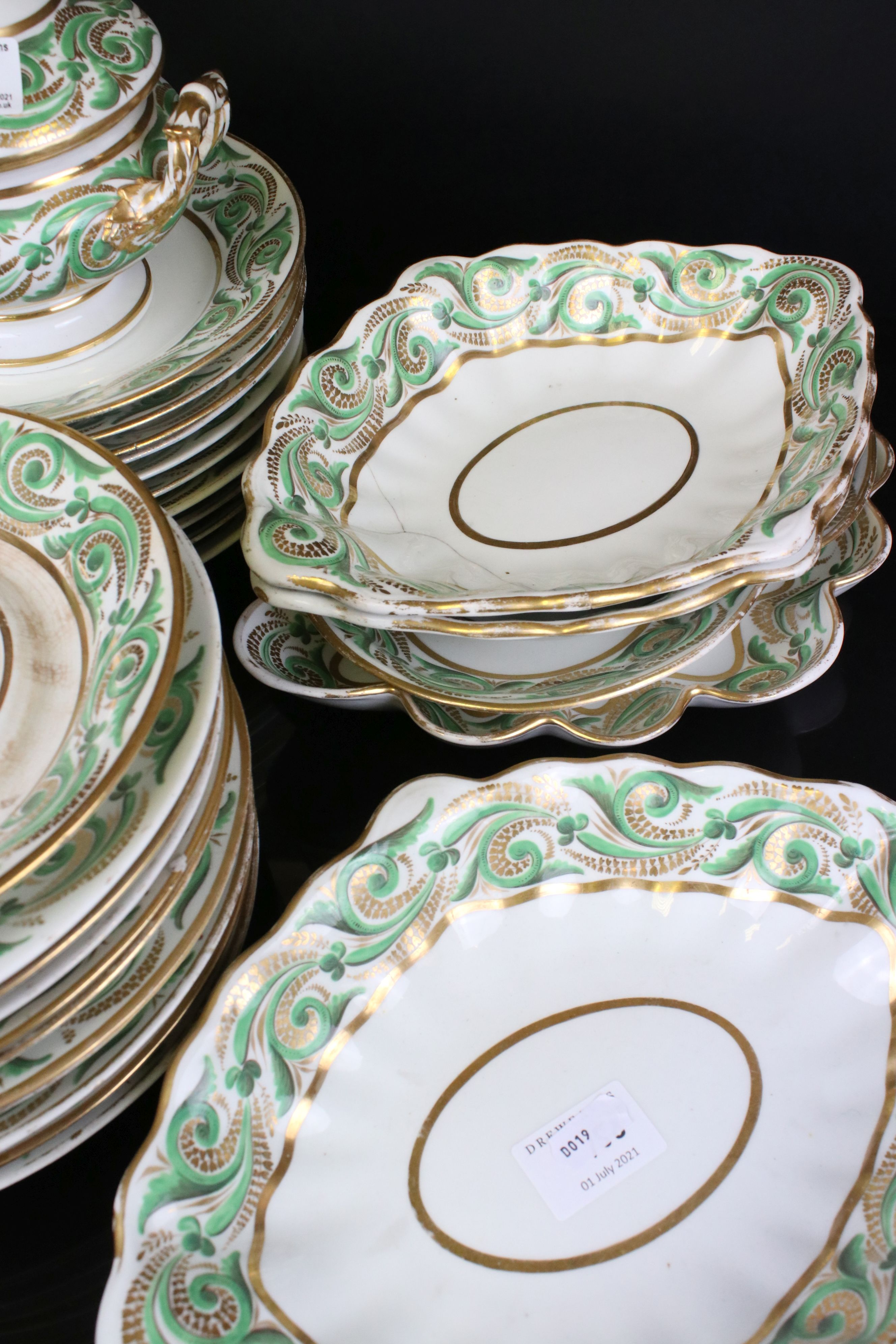 Early 19th century Derby porcelain service, white ground with apple green and gilt scrolling - Image 5 of 8