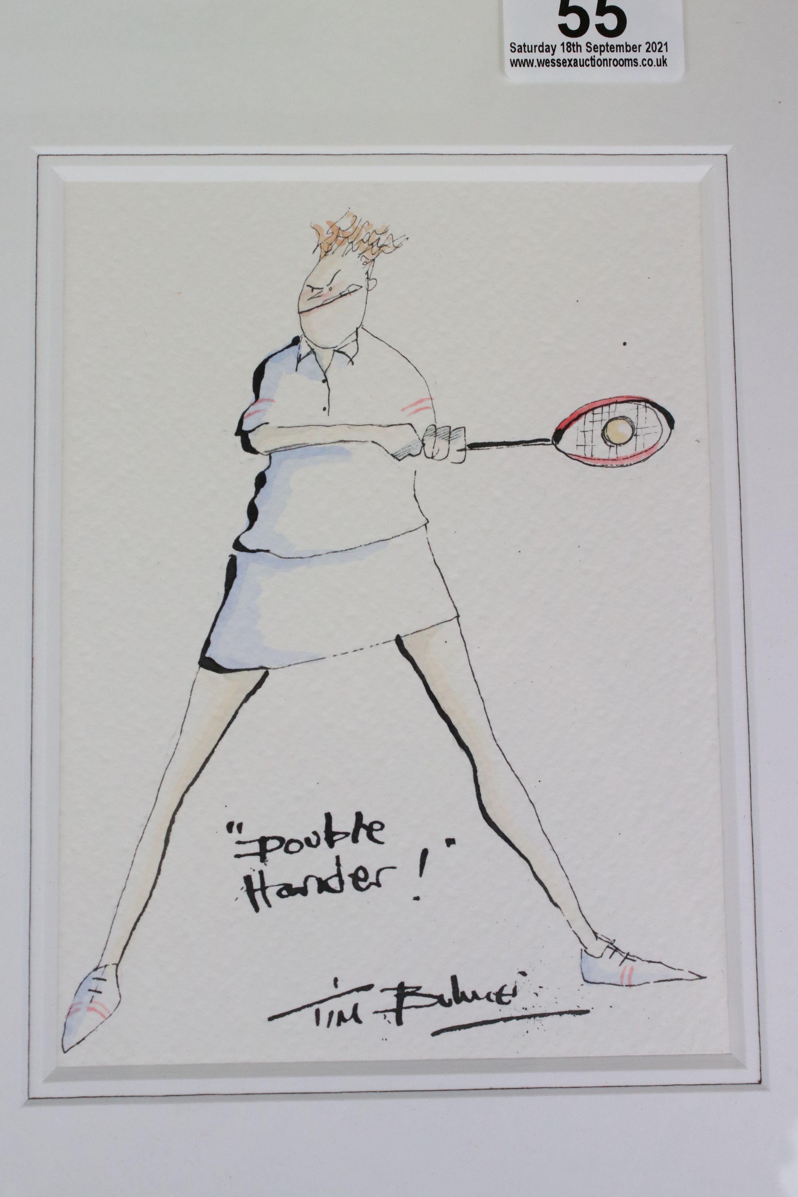 Tim Bulmer (cartoonist) a pair of humorous tennis watercolour cartoons & a signed Angela Fielder - Image 6 of 7