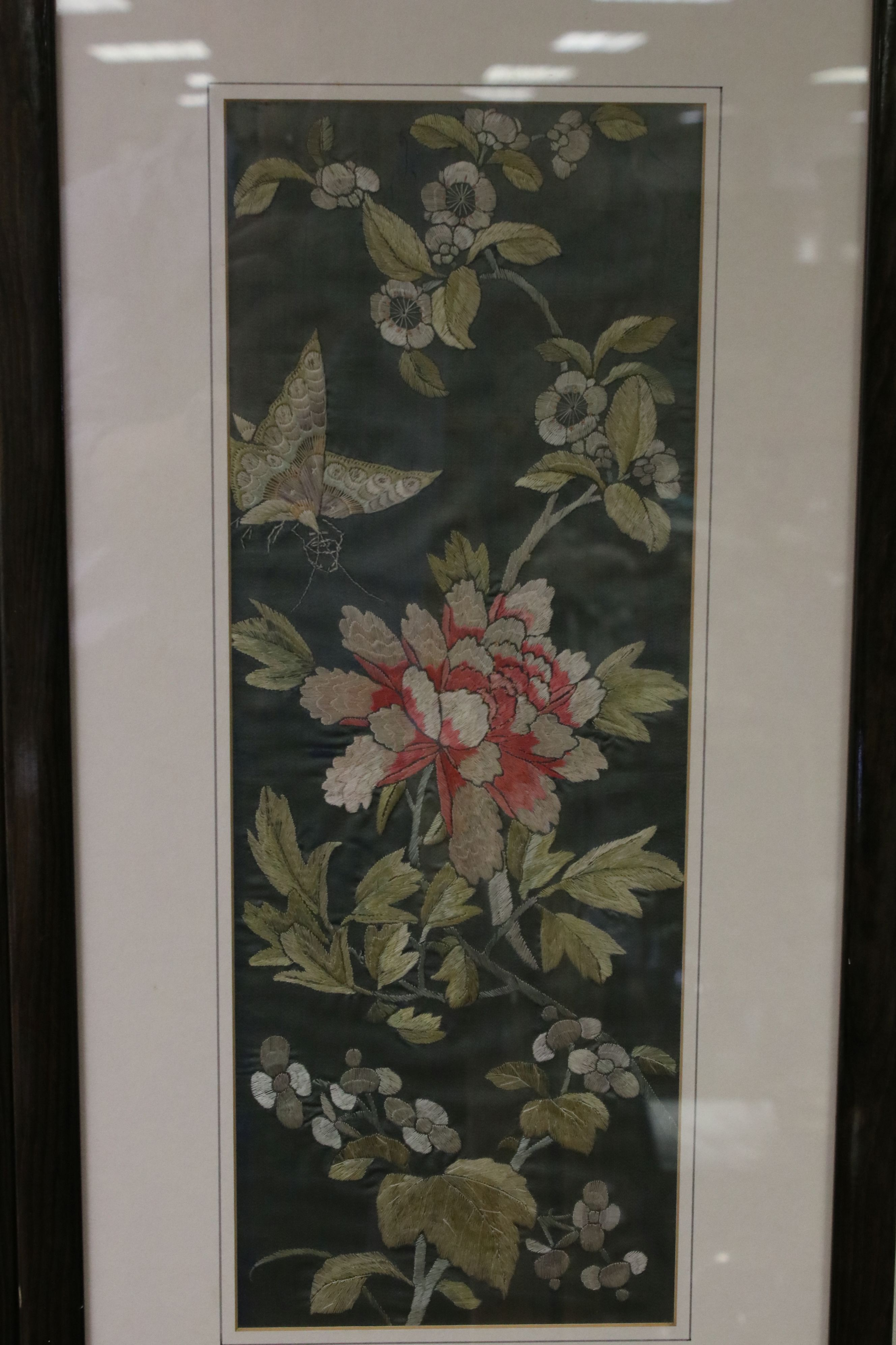 Pair of Framed and Glazed Oriental Silk Embroideries on a Green Ground depicting Butterflies and - Image 3 of 5