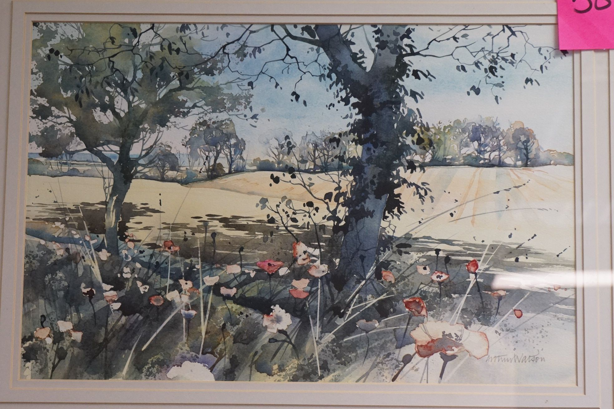 Arthur Watson (20th century), Watercolour of Country Scene with Poppies (33cms x 49cms) framed and - Image 2 of 4