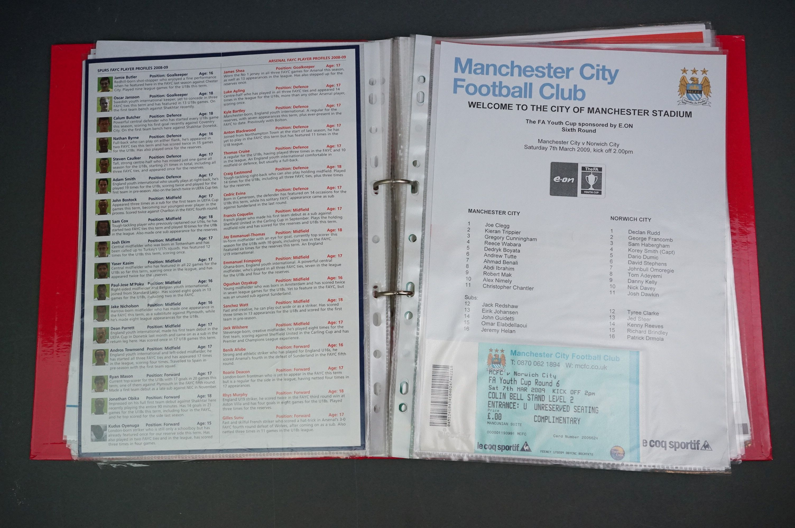 Football - FA Youth Cup 2007-11, a binder containing approx. 45 programmes, mostly single sheets, - Image 8 of 9
