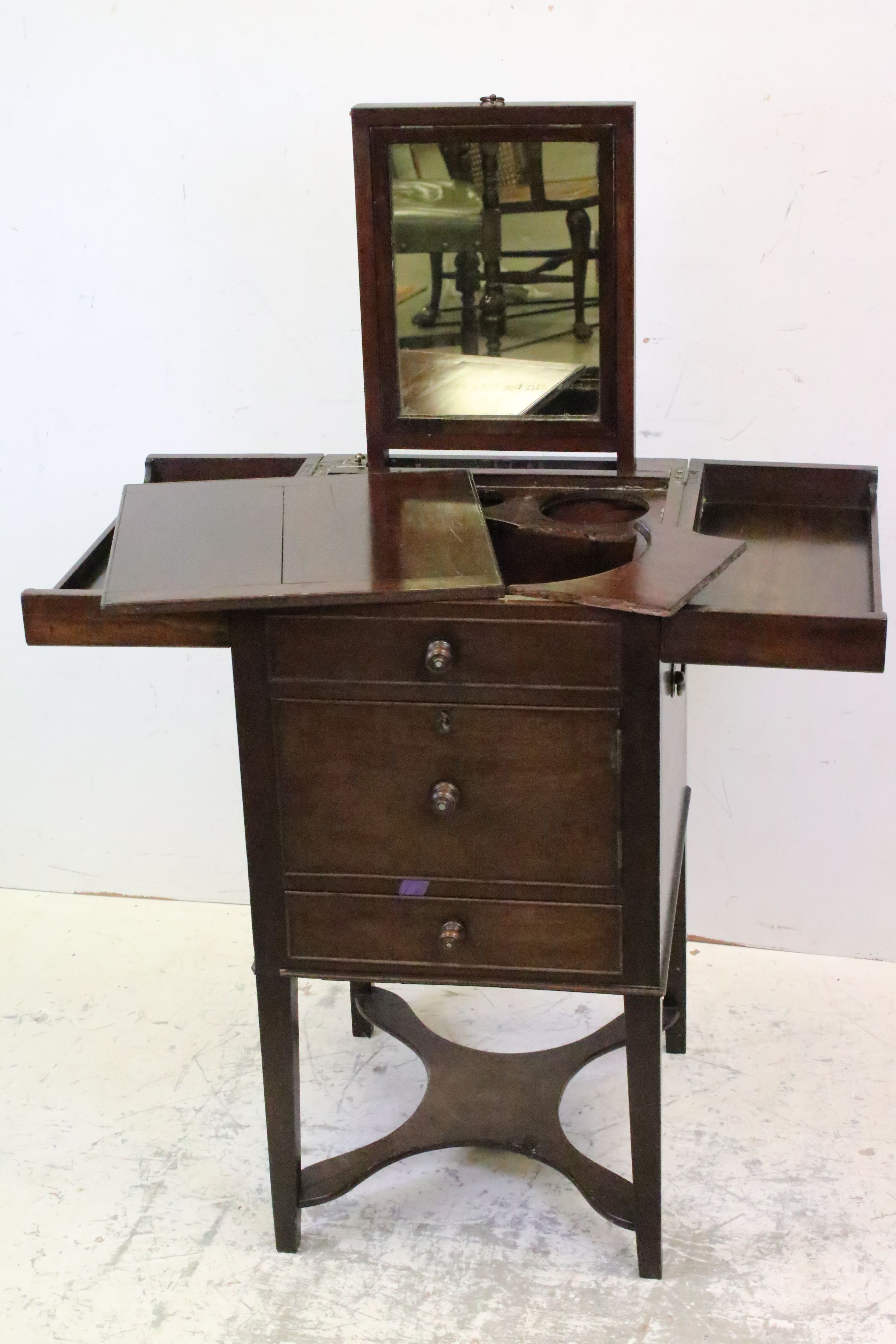 George III Mahogany Nightstand, the double hinged top opening to a pull-up mirror and lift up - Image 3 of 6
