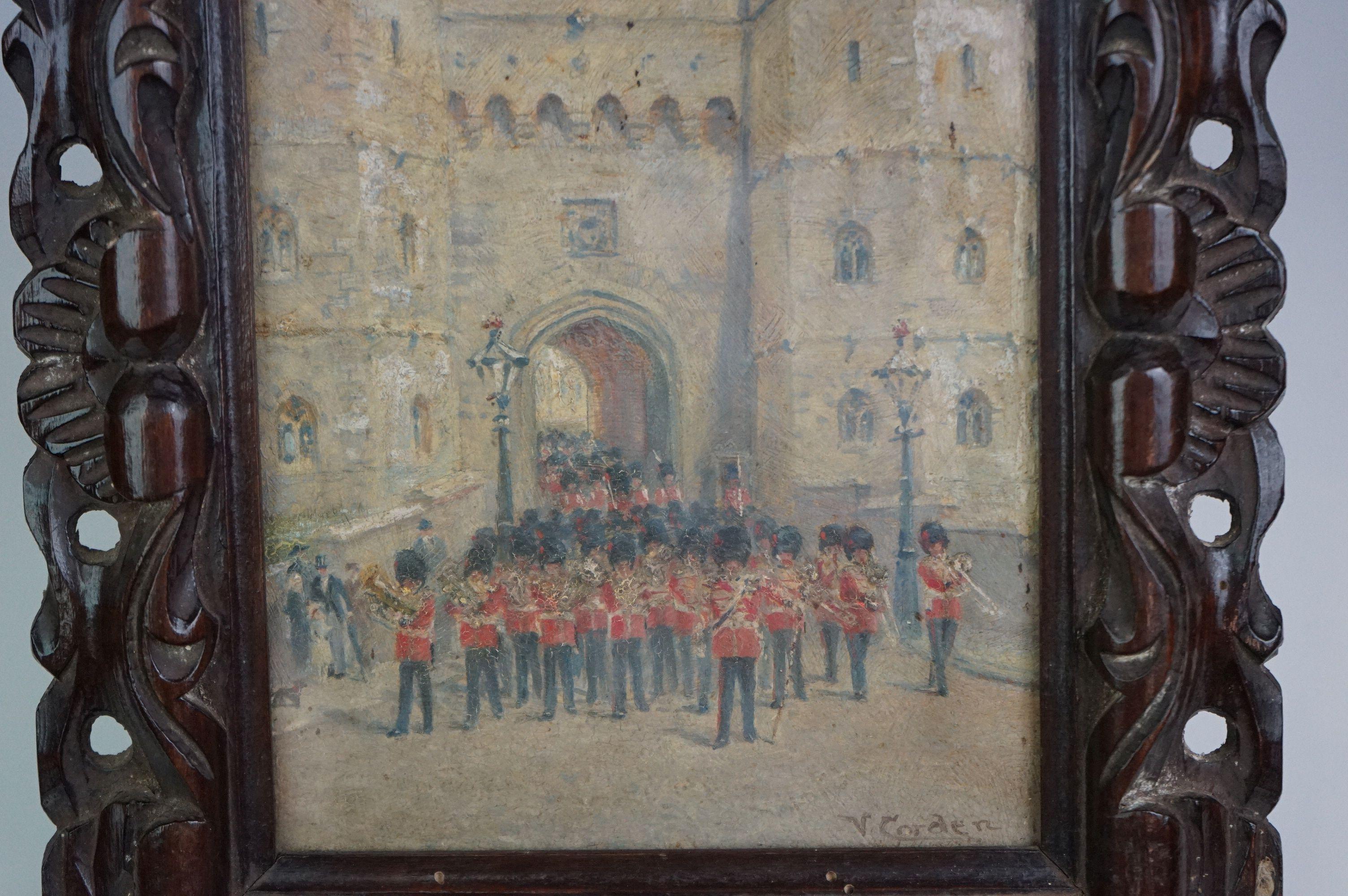 Vintage oil on board of Coldstream Guards outside Henry VIII gateway, signed Victor M Gordon - Image 3 of 4