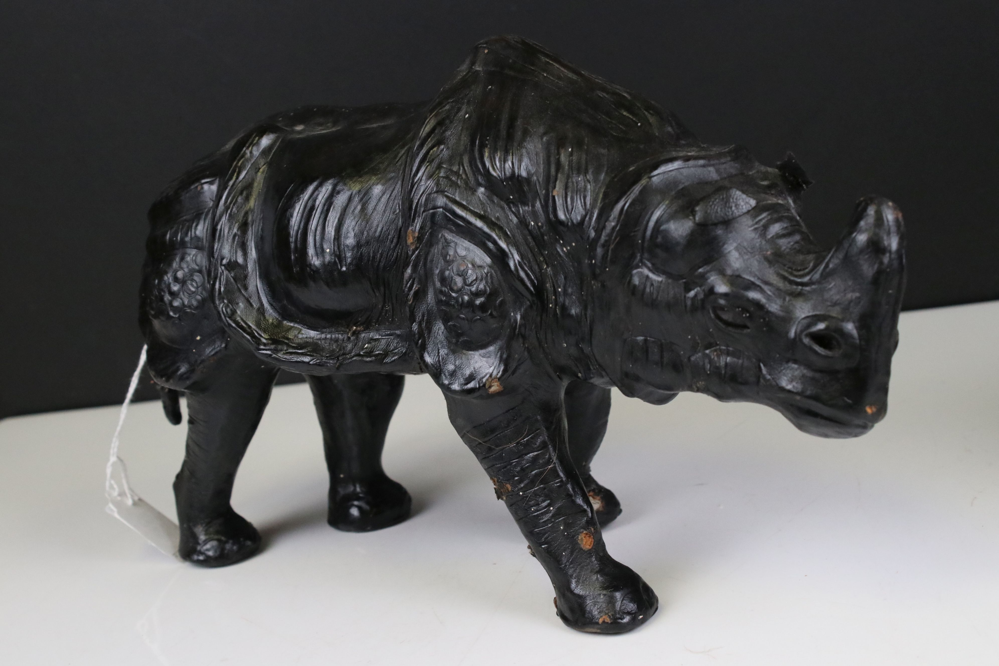 Pair of Leather covered models of Rhinoceros, 19cms high - Image 6 of 7