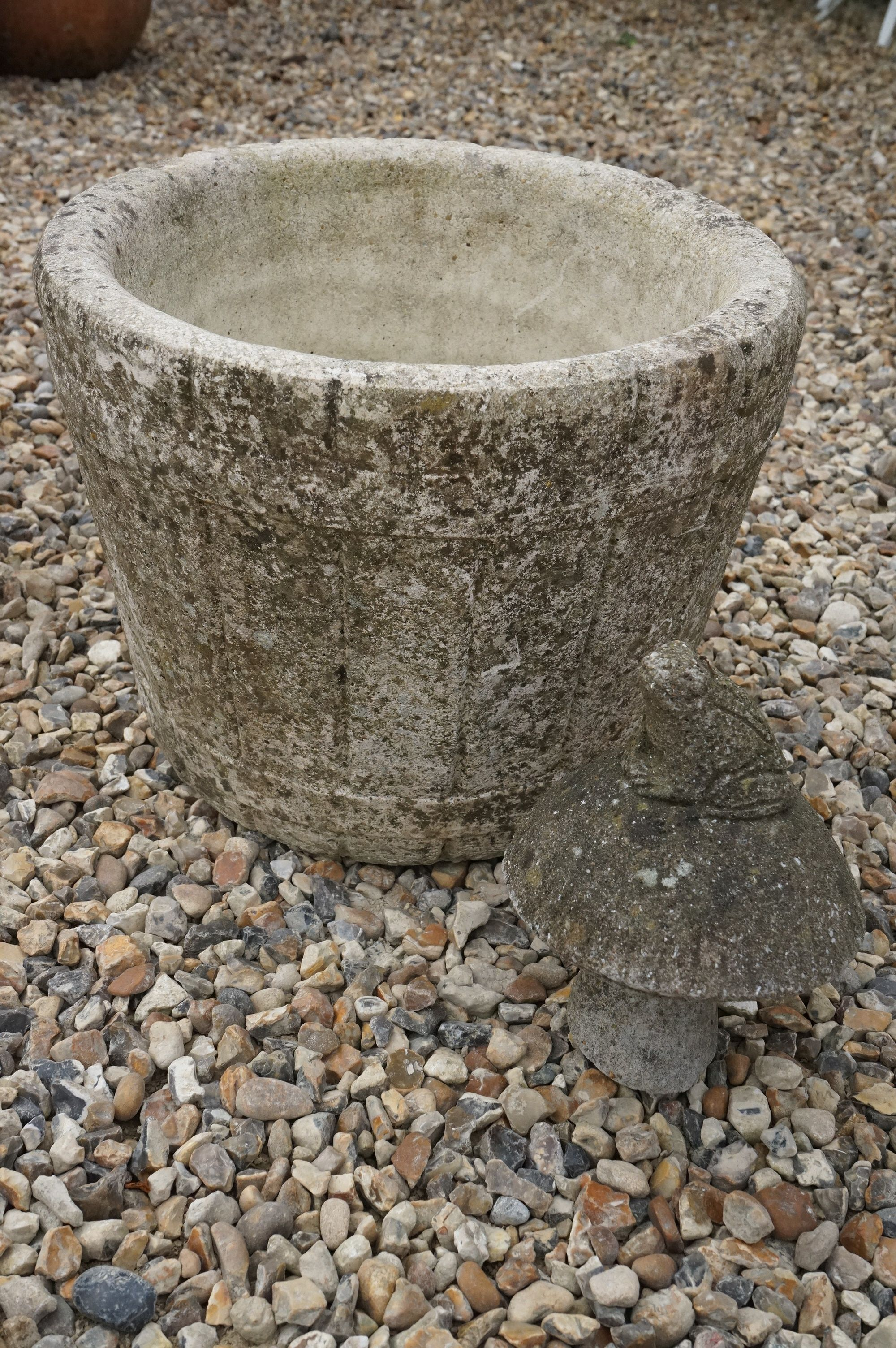 A reconstituted stone planter in the form of a barrel. - Image 3 of 3