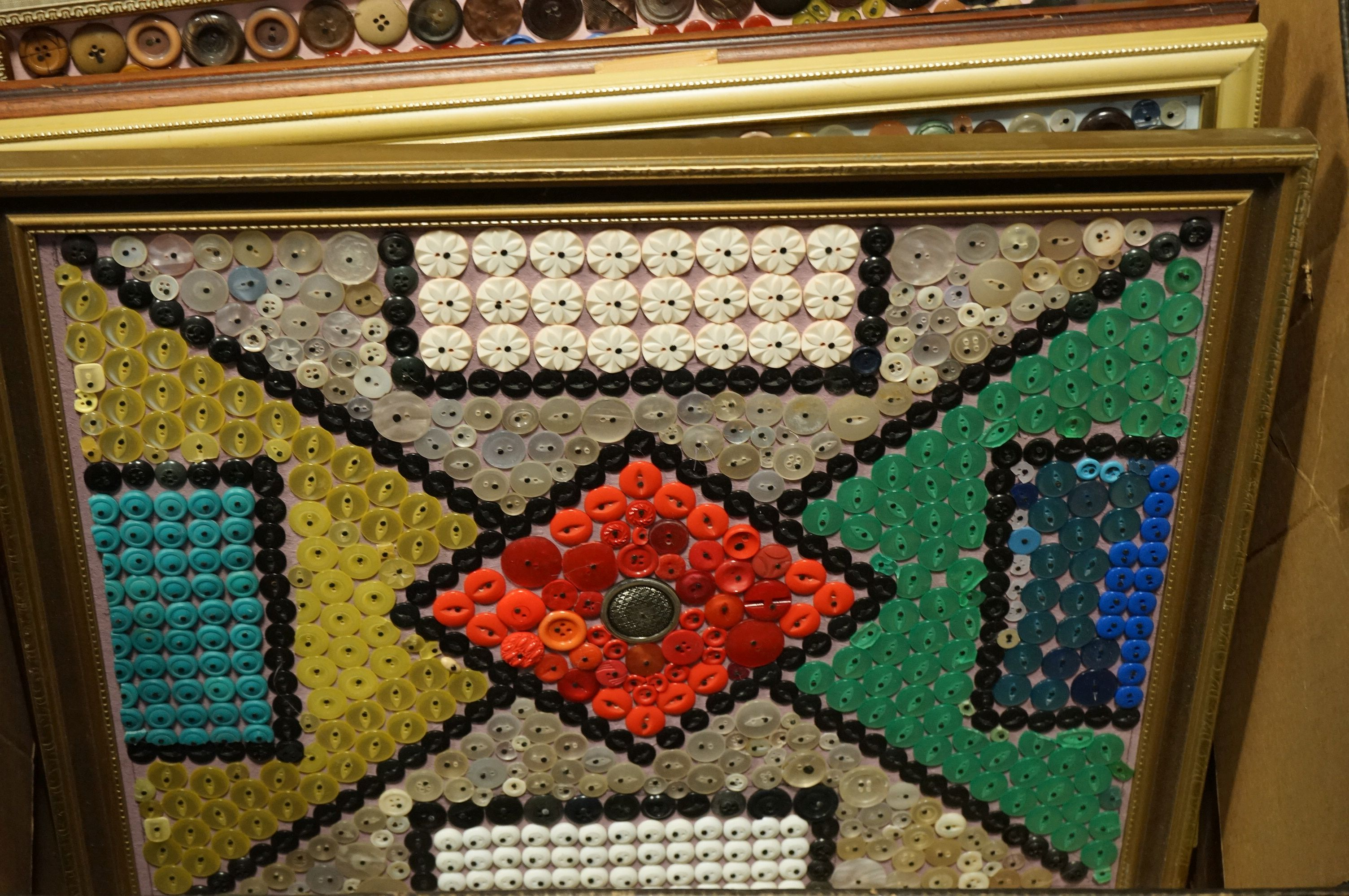 Eleven large framed collages of assorted buttons all by D. Jacques. - Image 2 of 10