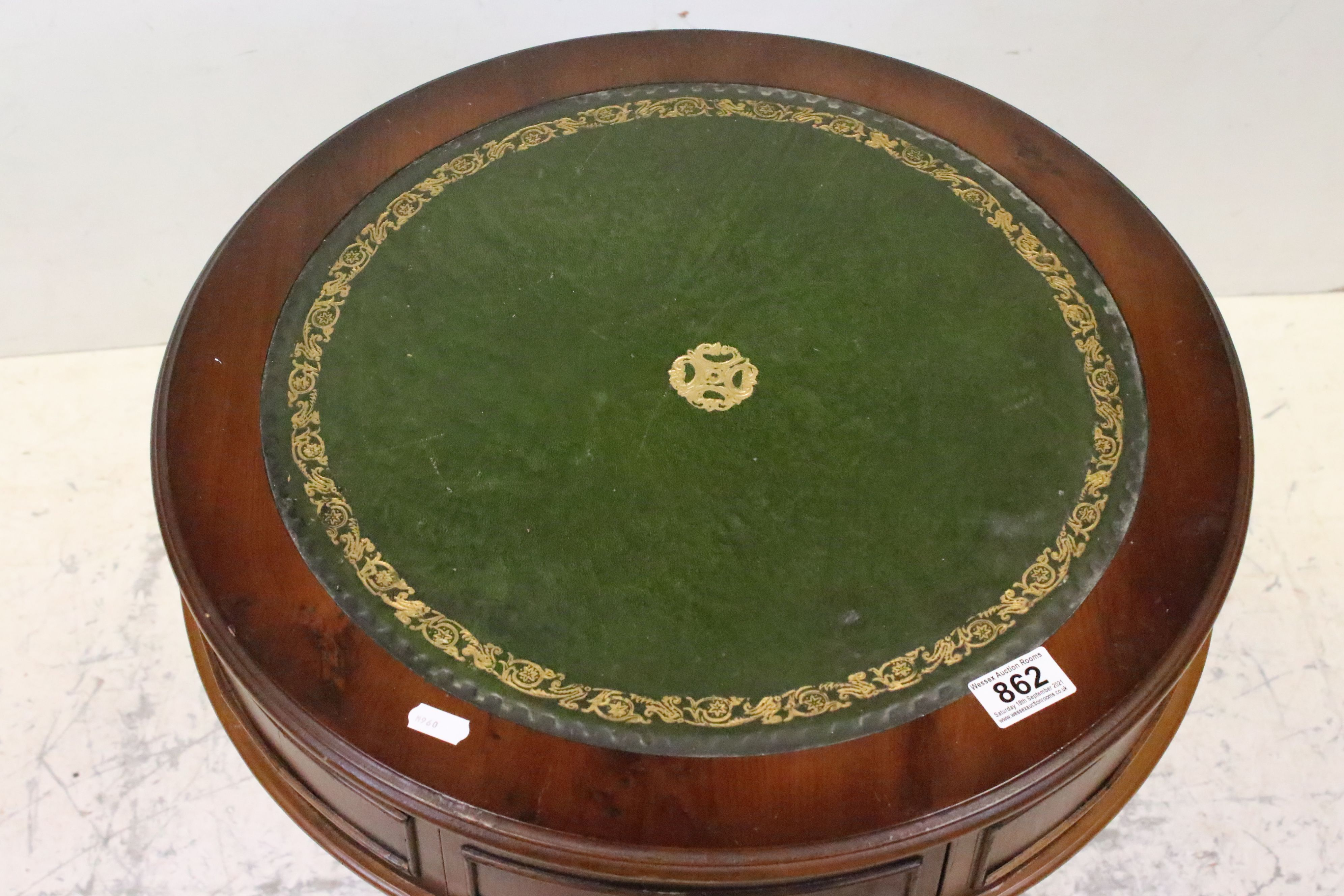 Reproduction Drum Table with Green Leather Inset Top, 49cms wide x 62cms high - Image 3 of 4
