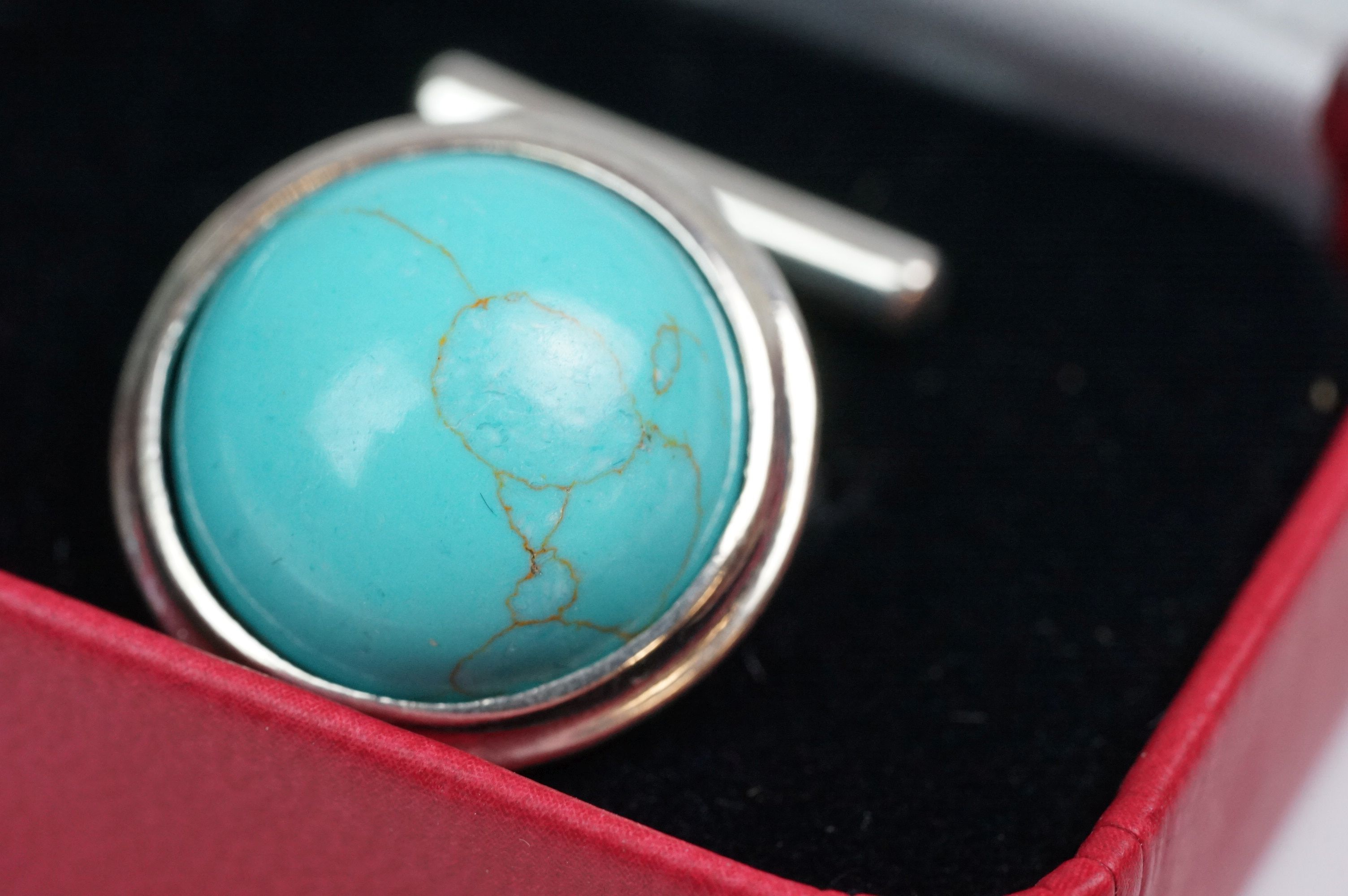 Pair of silver and turquoise set cufflinks, stamped 925 - Image 2 of 5