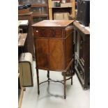 Edwardian Mahogany Inlaid Gramophone Cabinet (now empty) with lift hinged lid and two cupboard doors