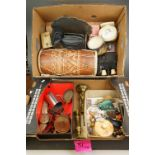 Two Boxes of Mixed items including metal coin belt and another, bongo drum, military morse code