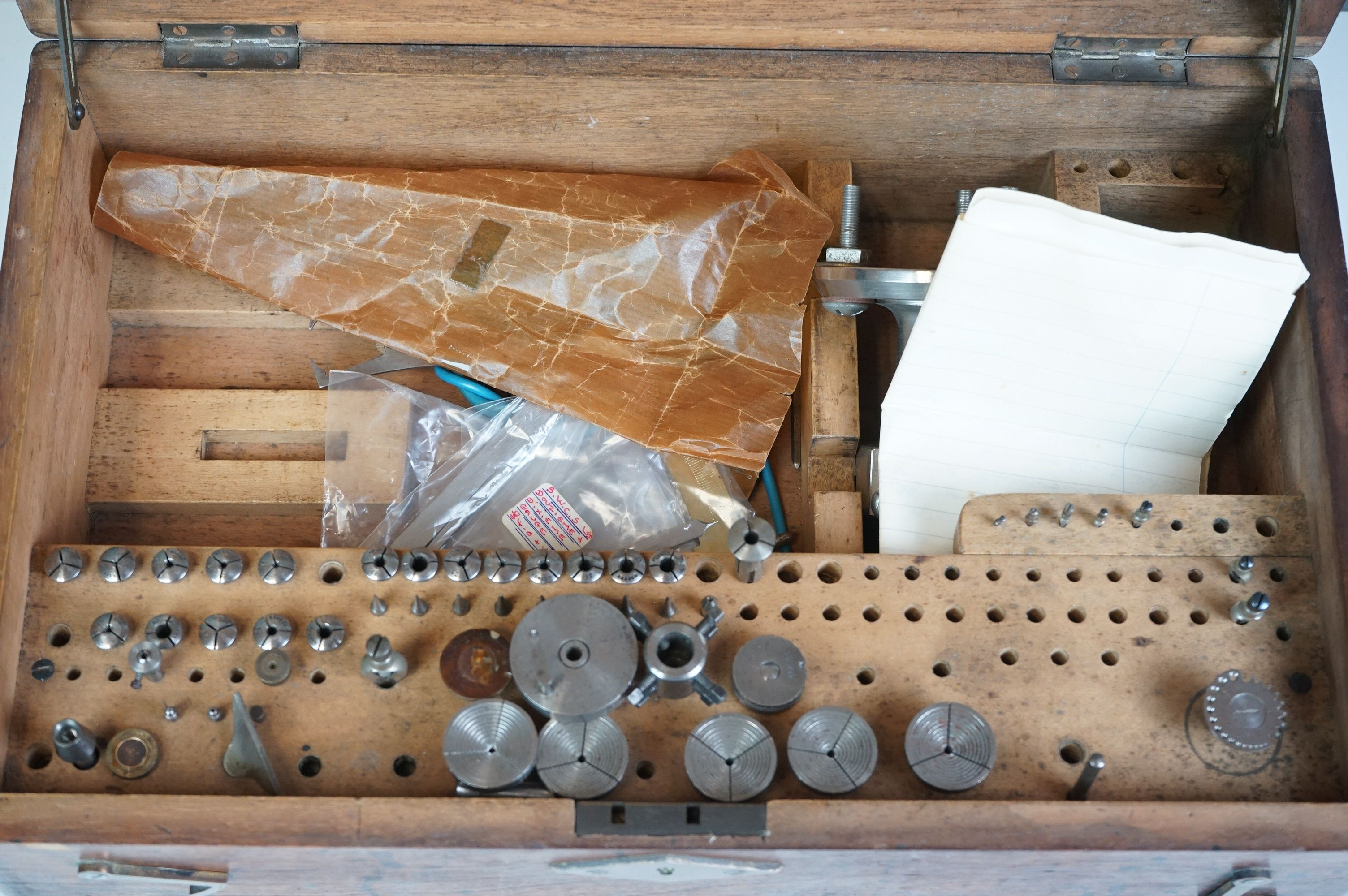 Early 20th century Wooden Watch Repairers Box fitted with various equipment, 38cms long - Image 4 of 5