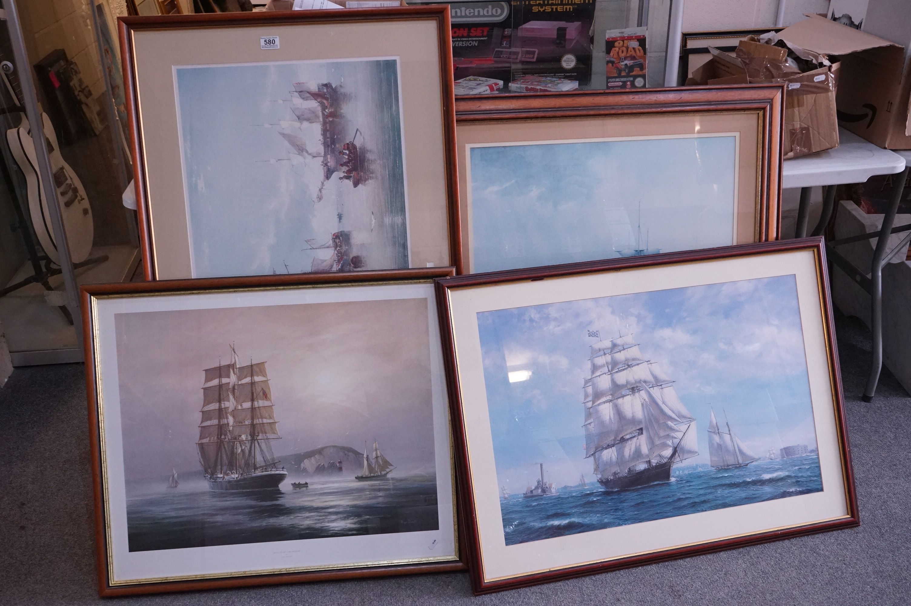 Four Large Framed and Glazed Sailing Ship Prints including Roger Desoutter ' Hove -to off the