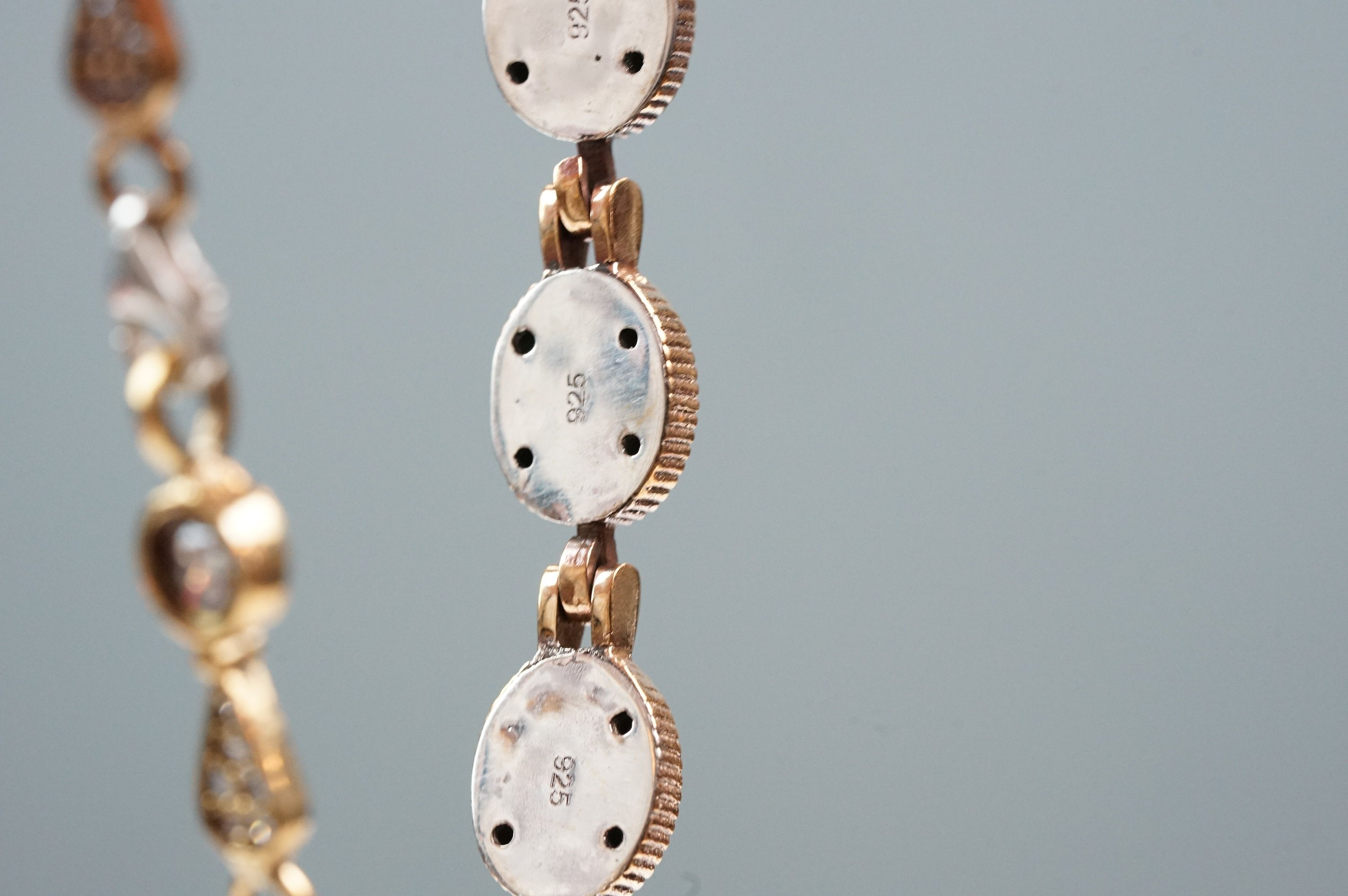 Silver and CZ set bracelet - Image 4 of 4