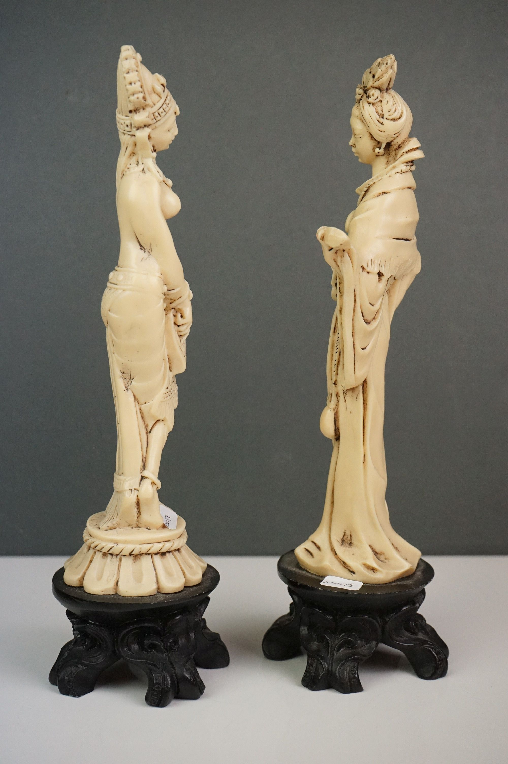 Three resin figures, to include two of women playing instruments & one deity, together with an - Image 3 of 6