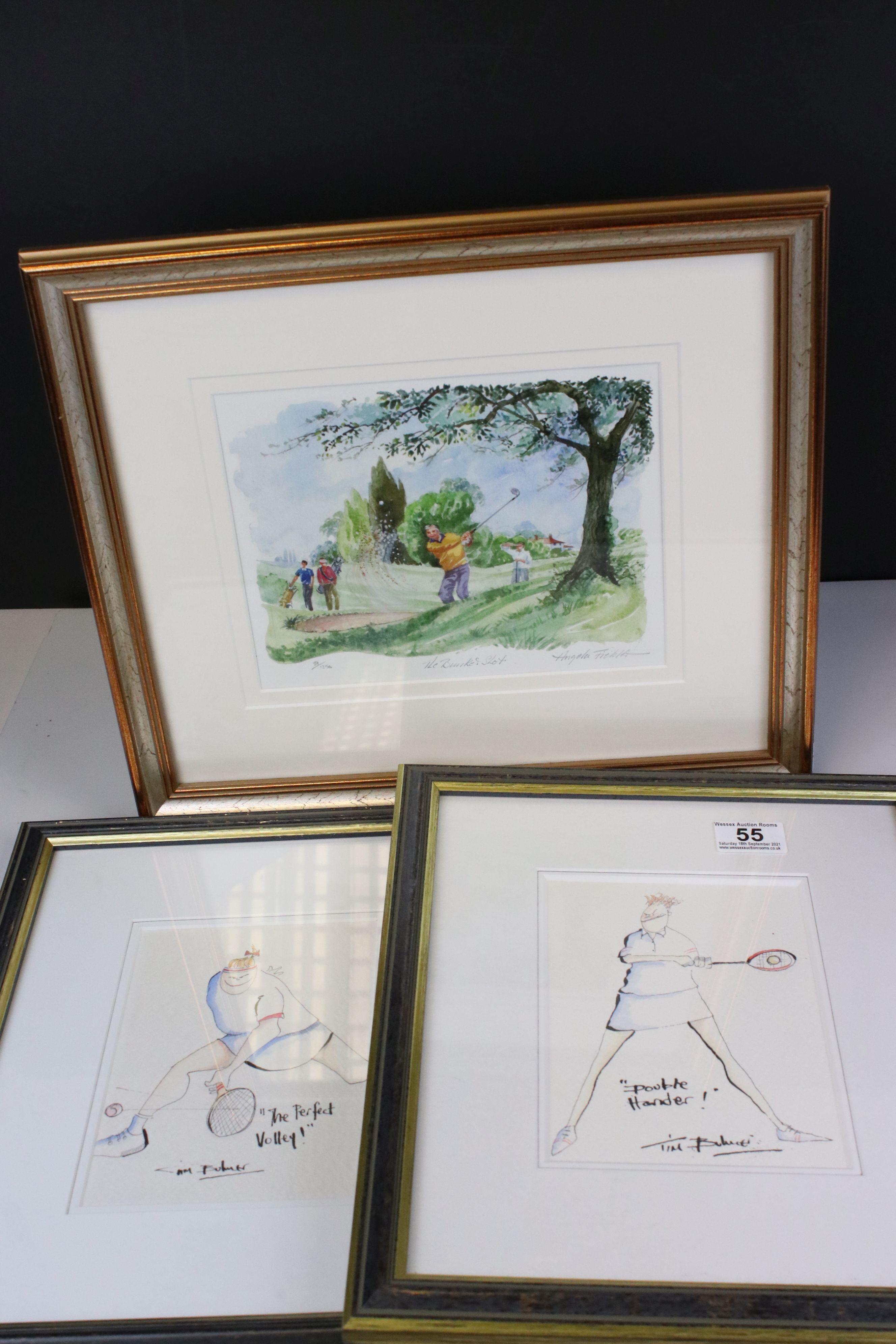 Tim Bulmer (cartoonist) a pair of humorous tennis watercolour cartoons & a signed Angela Fielder