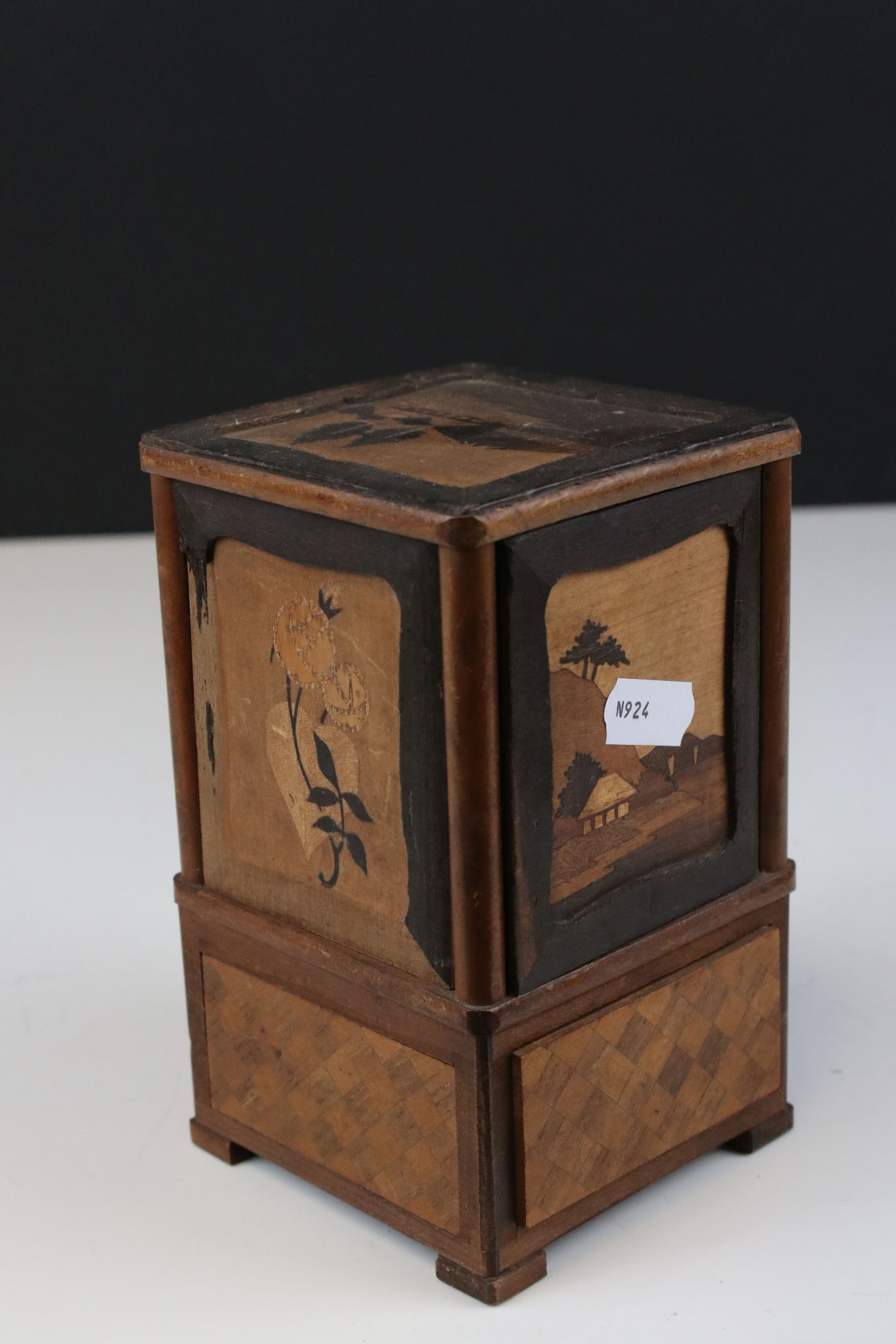 Japanese Wooden Inlaid Table Cigarette Dispenser, decorated with scenes of Mount Fuji, Flowers and - Image 2 of 5