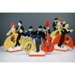 Three Moorland Chelsea Art Deco Style Flat Figure Groups including Jazz Band and Dancing Figures,