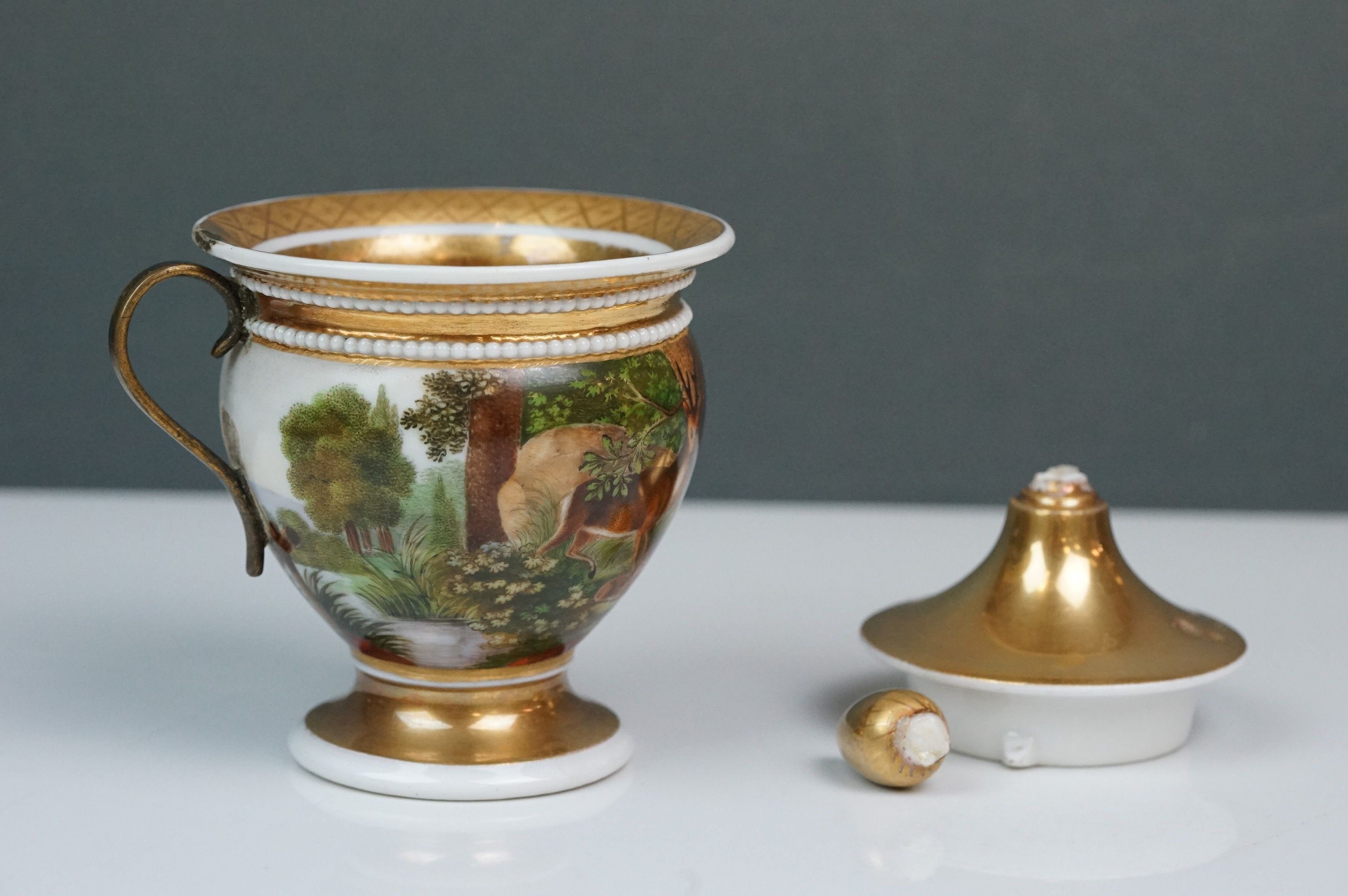 Pair of hand painted Dresden cups, each depicting a different scene: castle and lake scene with - Image 7 of 10
