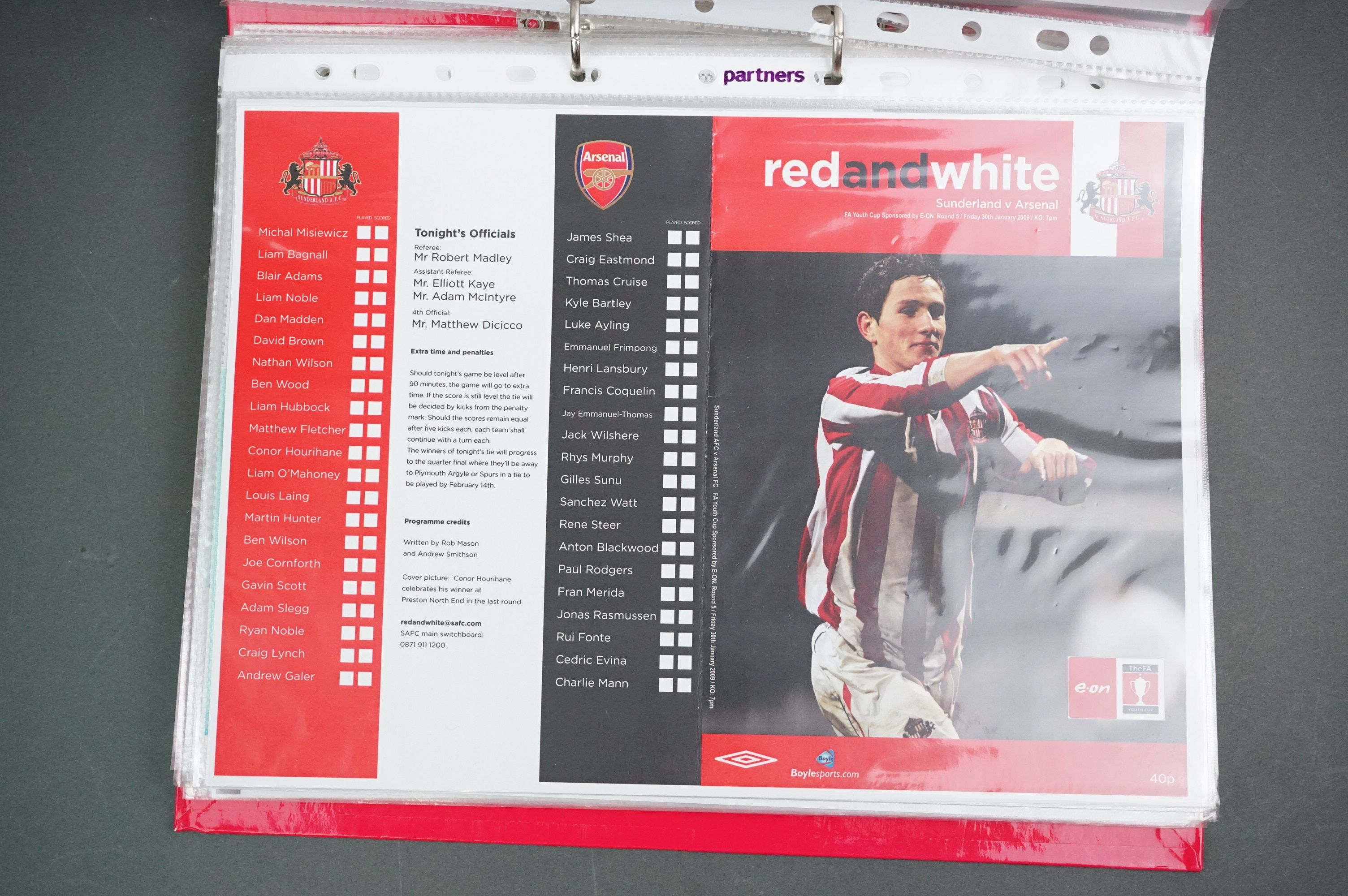 Football - FA Youth Cup 2007-11, a binder containing approx. 45 programmes, mostly single sheets, - Image 4 of 9