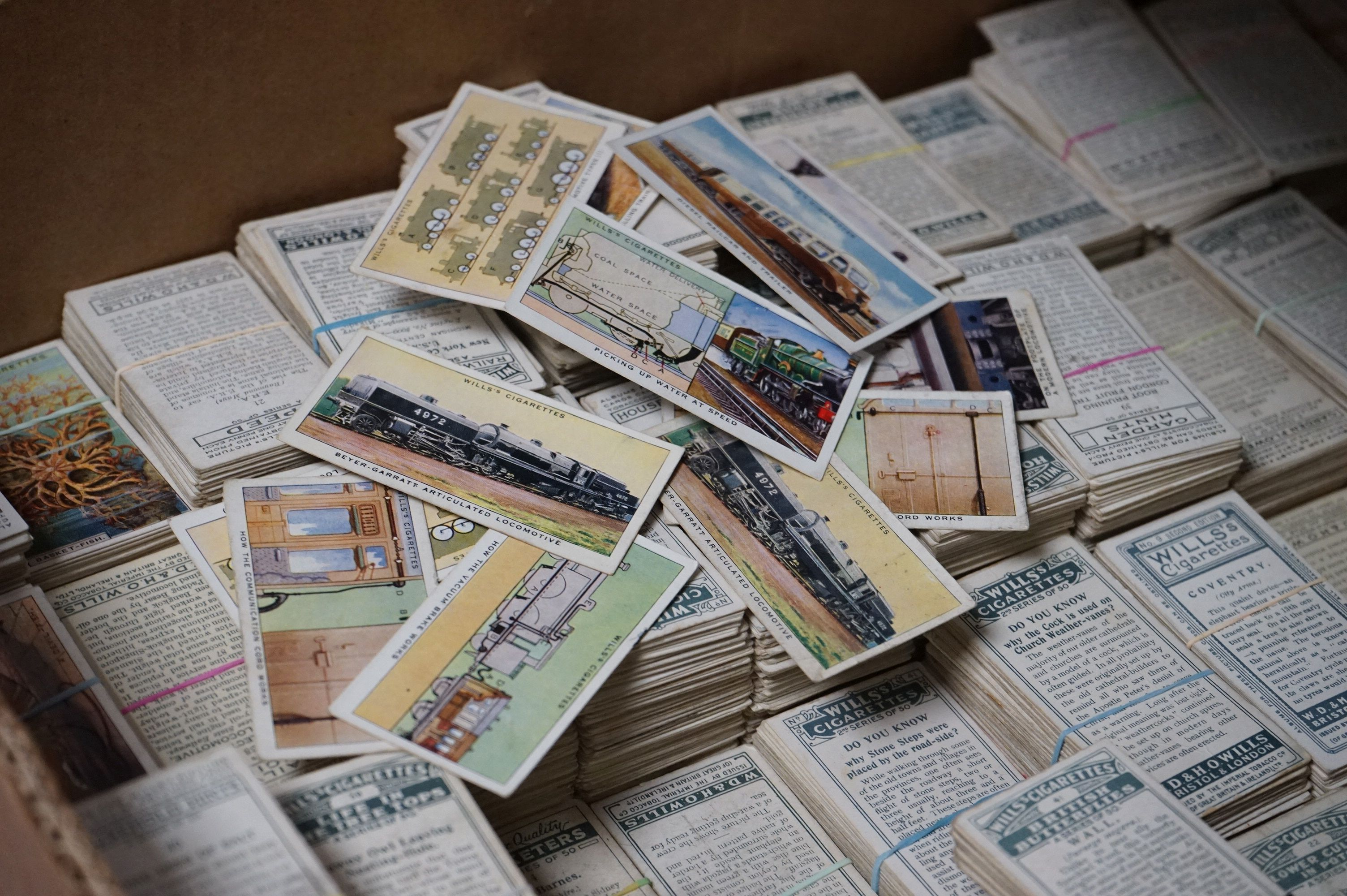 A large collection of over 4000 Wills cigarette cards to include full sets and part sets.