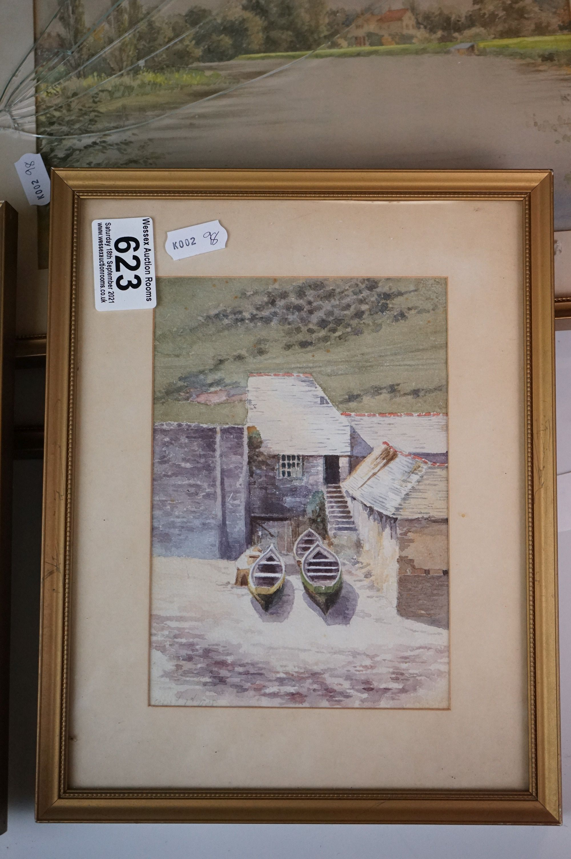 Four Watercolours including Stone Bathhouse, all in matching frames and glazed together with a group - Image 4 of 15