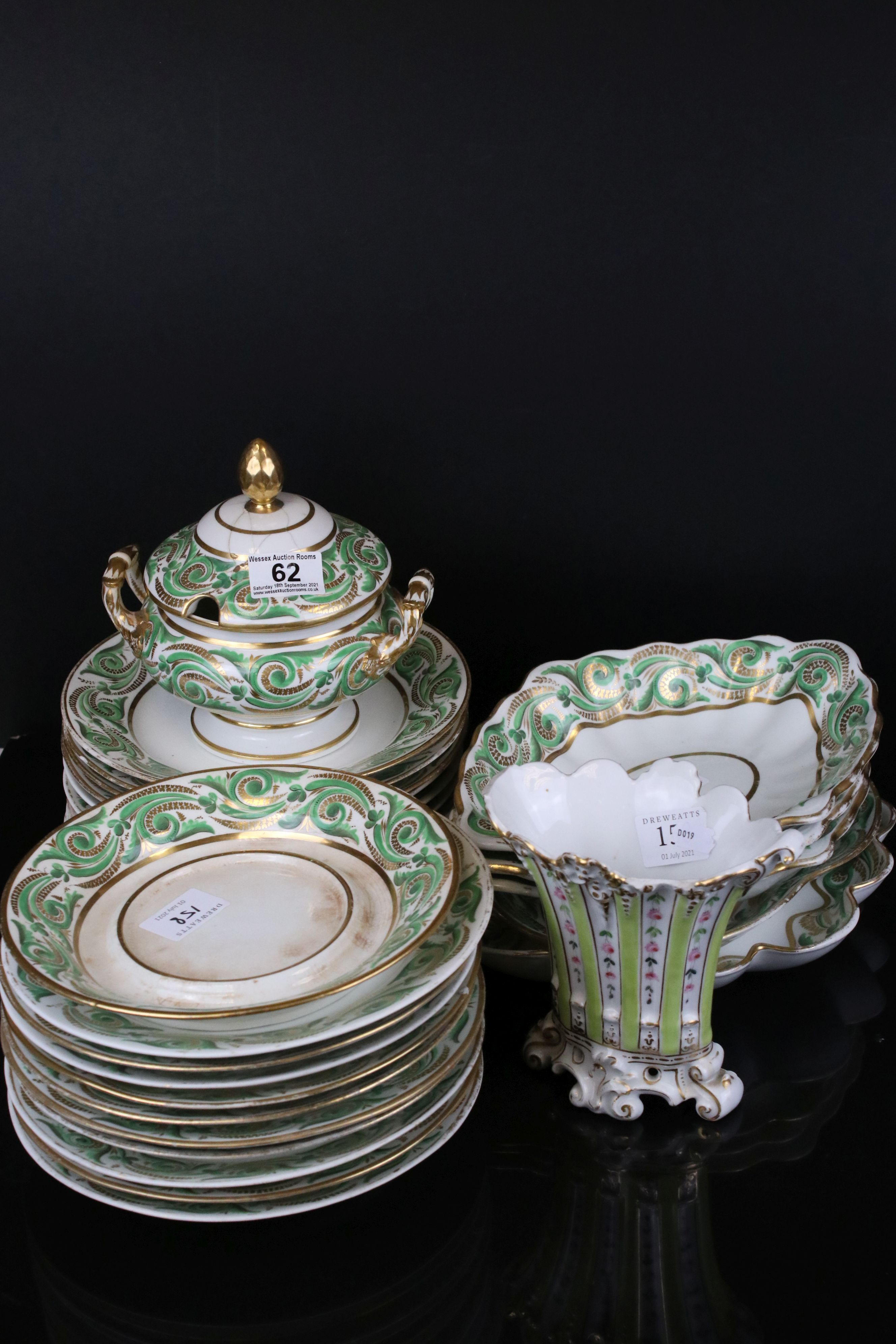 Early 19th century Derby porcelain service, white ground with apple green and gilt scrolling