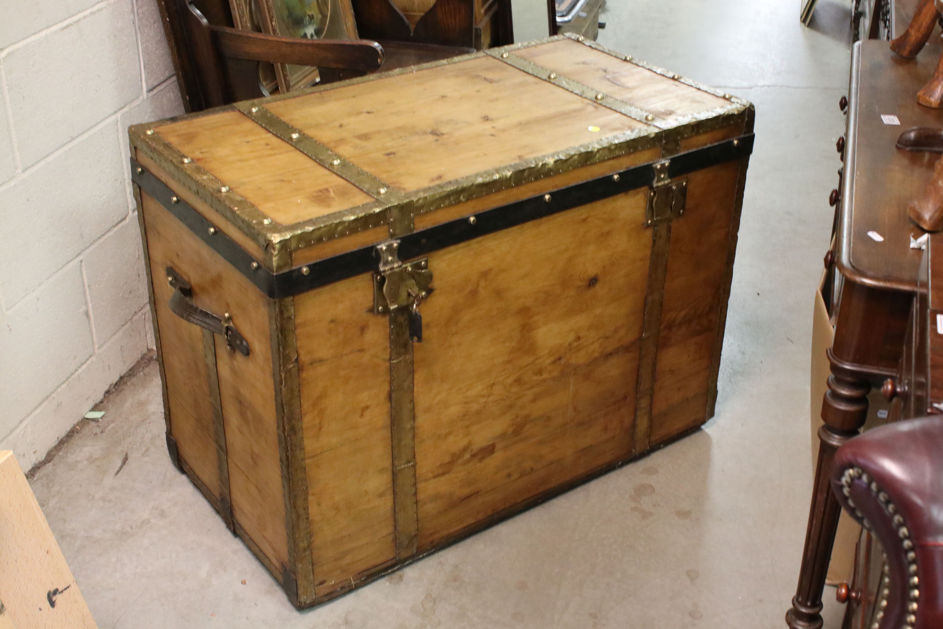 Large vintage pine trunk with brass strapping and locks by Joachim Larsen, Arendal, with leather