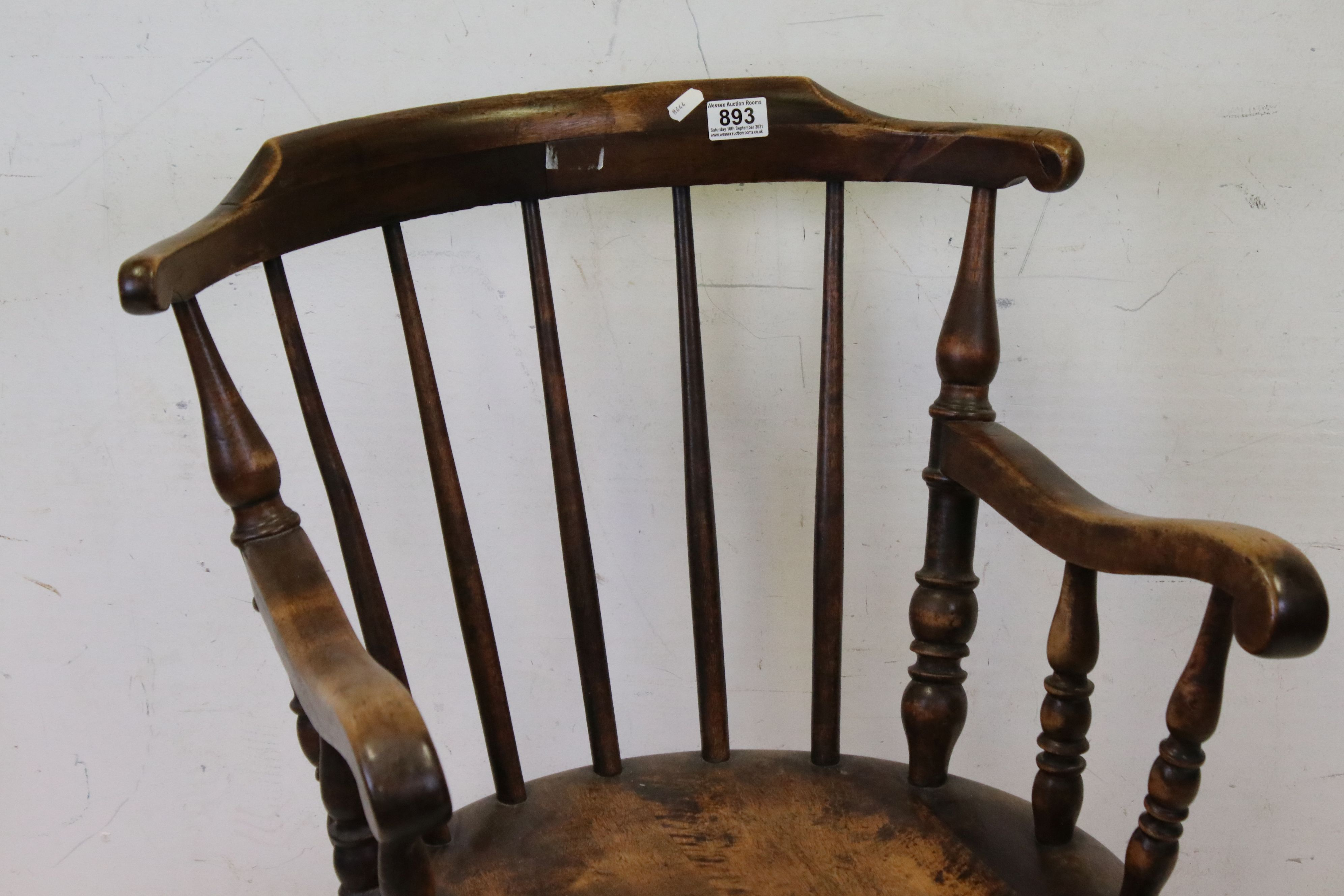Early 20th century Stickback Elbow Chair with solid circular seat, 88cms high - Image 2 of 3