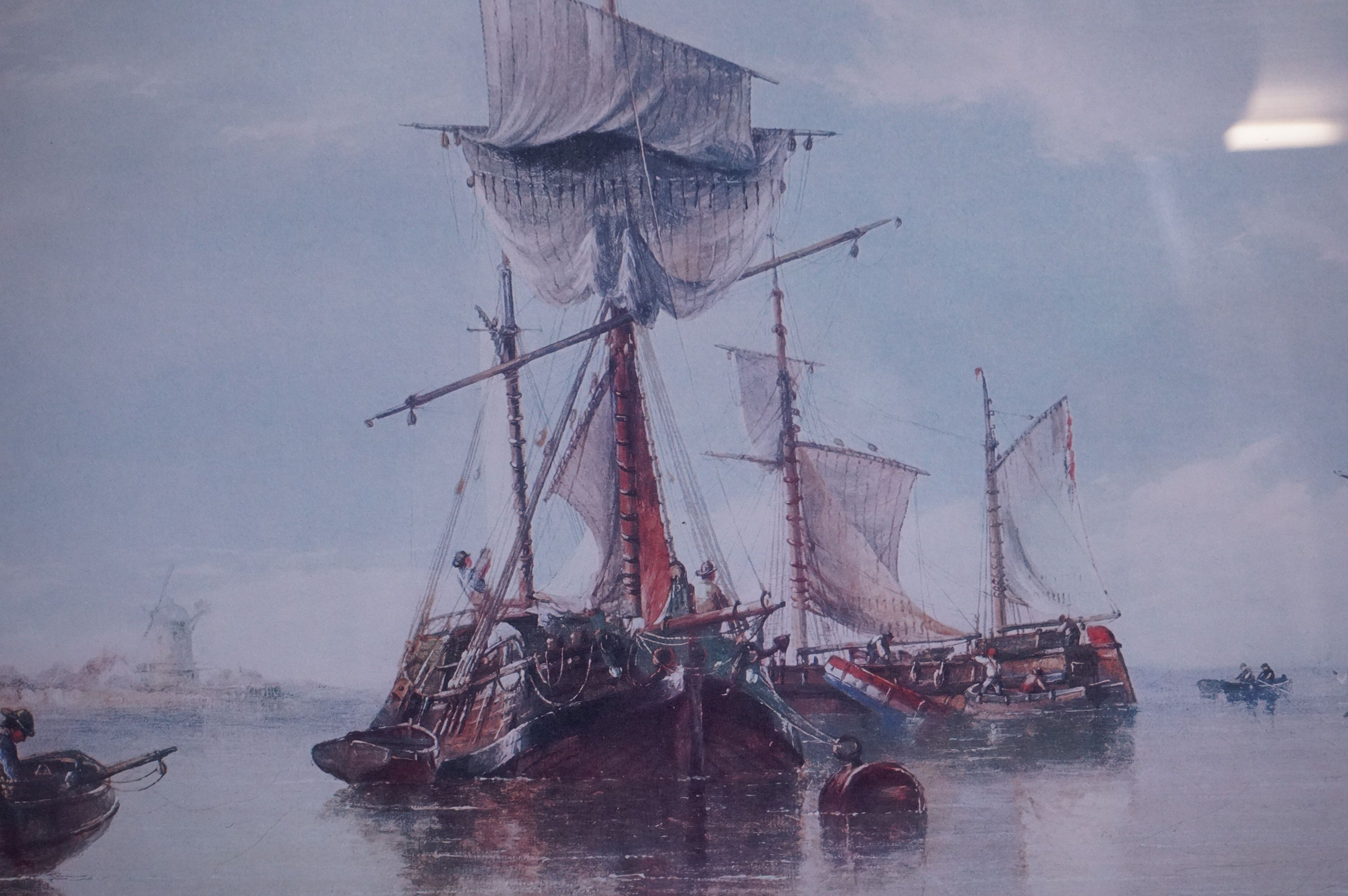 Four Large Framed and Glazed Sailing Ship Prints including Roger Desoutter ' Hove -to off the - Image 10 of 11