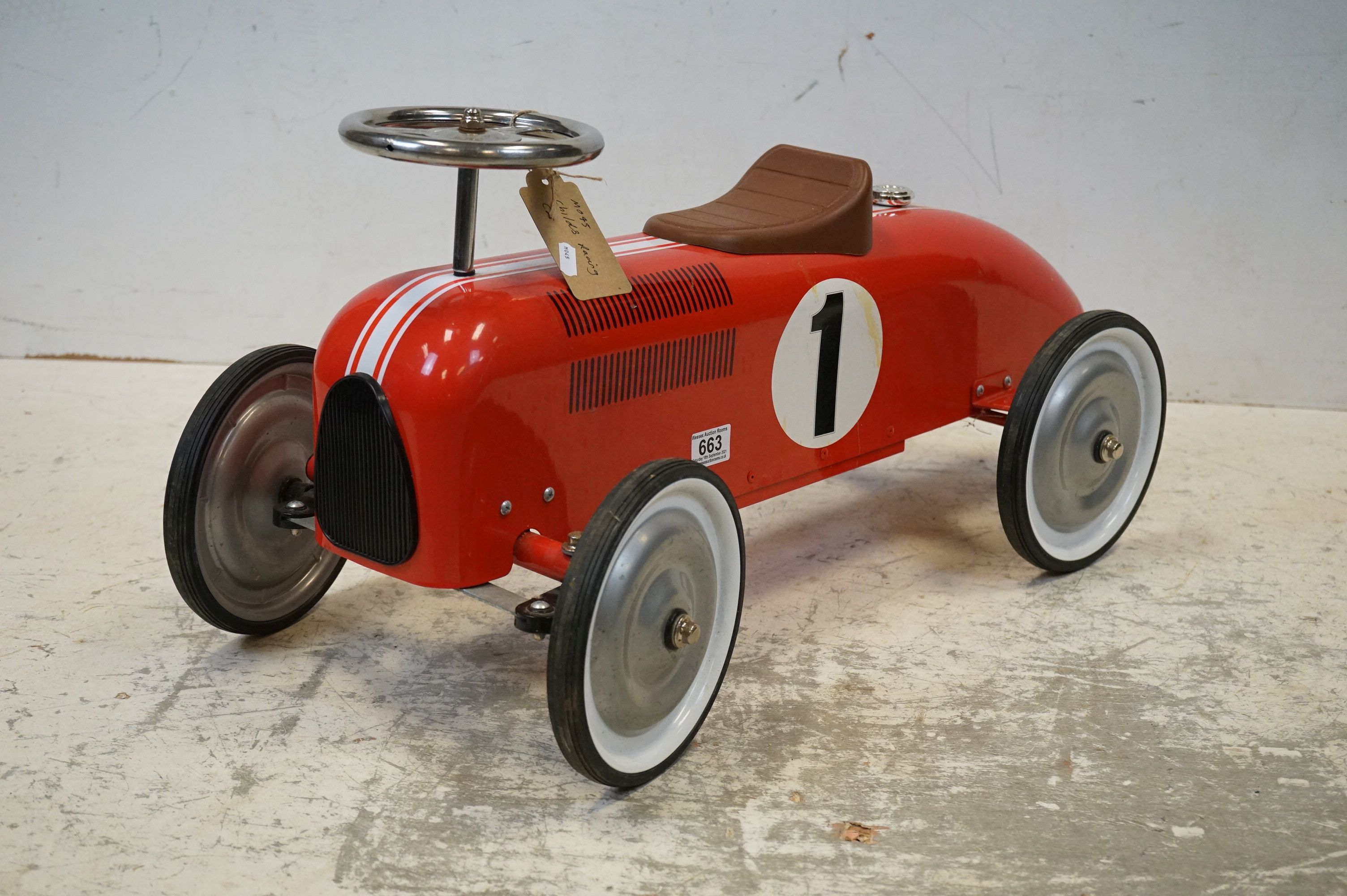A contemporary metal red Childs racing car. - Image 2 of 5