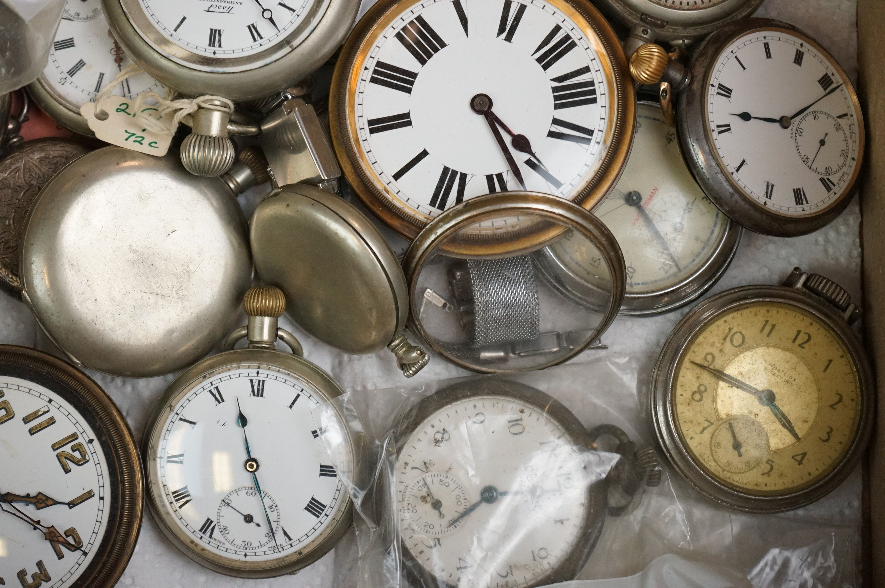 Large collection of white metal, chrome plated and stainless steel pocket watches to include Tissot, - Image 4 of 5
